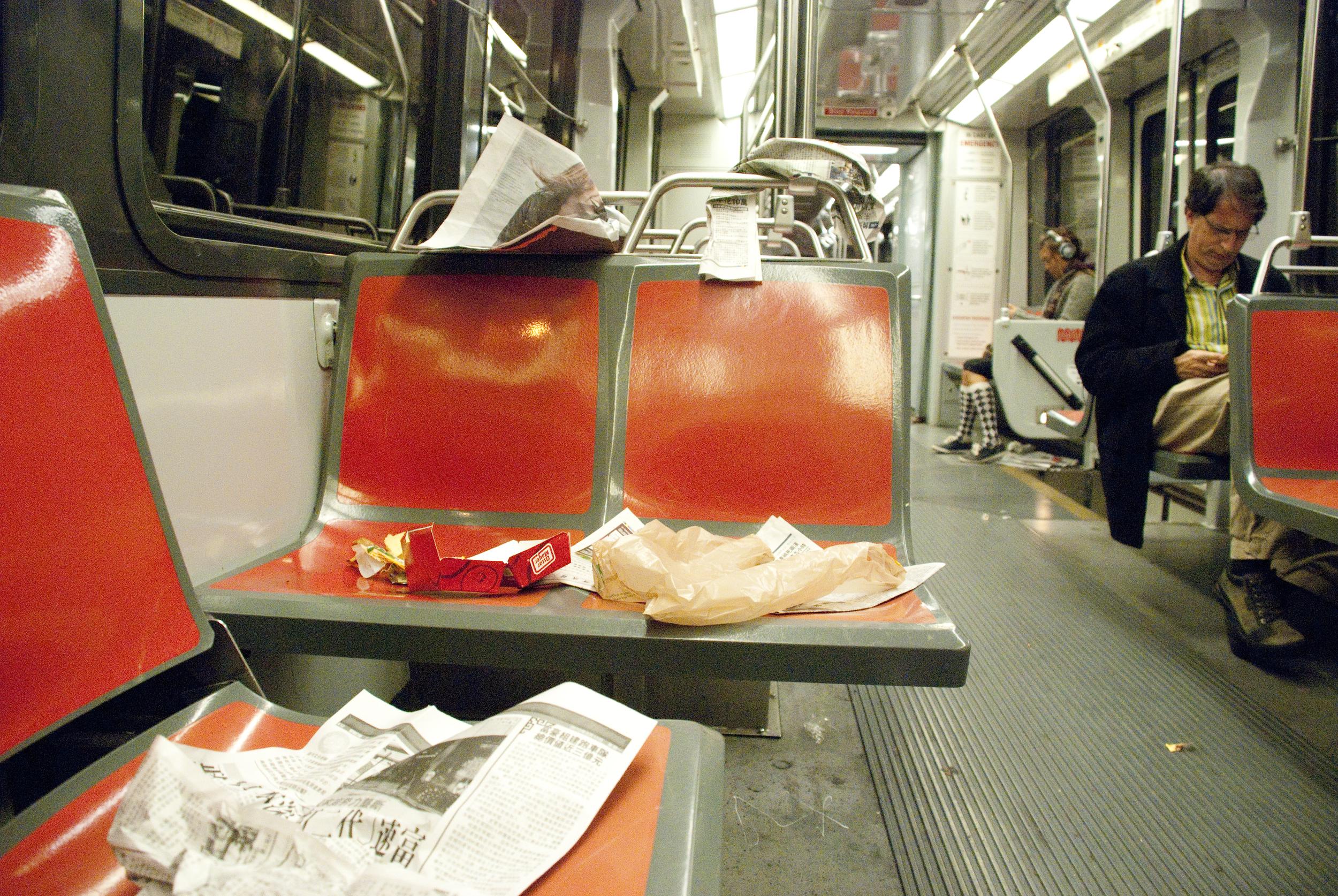 Trash is strewn across several seats on a Muni light rail train in San Francisco, Calif. Monday, Sept. 13, 2010.