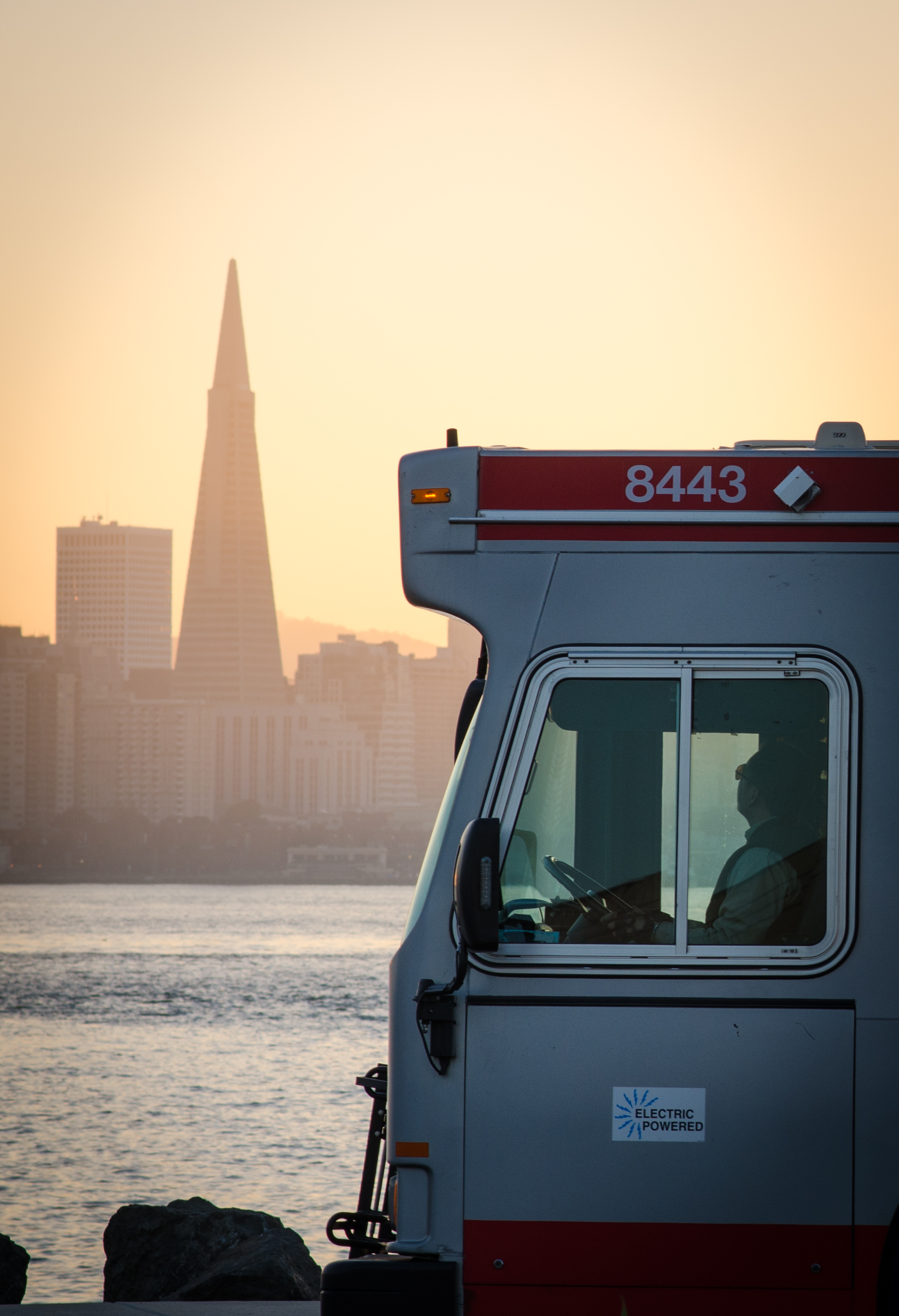 A MUNI bus driver gazes toward the downtown skyline from Treasure Island in San Francisco, Calif. Friday, Jan 17, 2016.