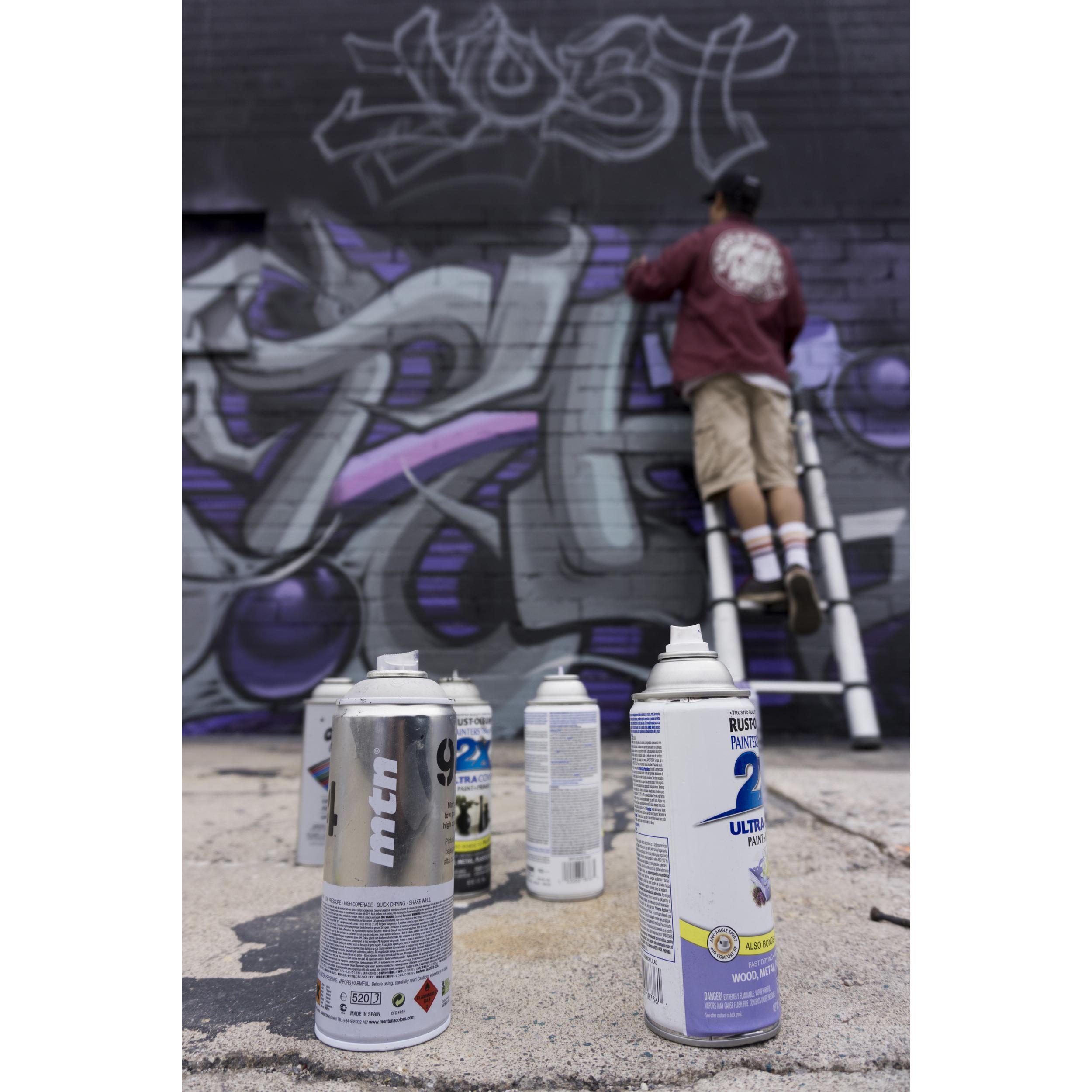 Artist Ivan Preciado of San Bernardino, Calif. paints a Prince-themed mural on Colorado Avenue at Main Street in Las Vegas Monday, April 25, 2016. Eclectic musician, Prince passed away on Thursday last week.