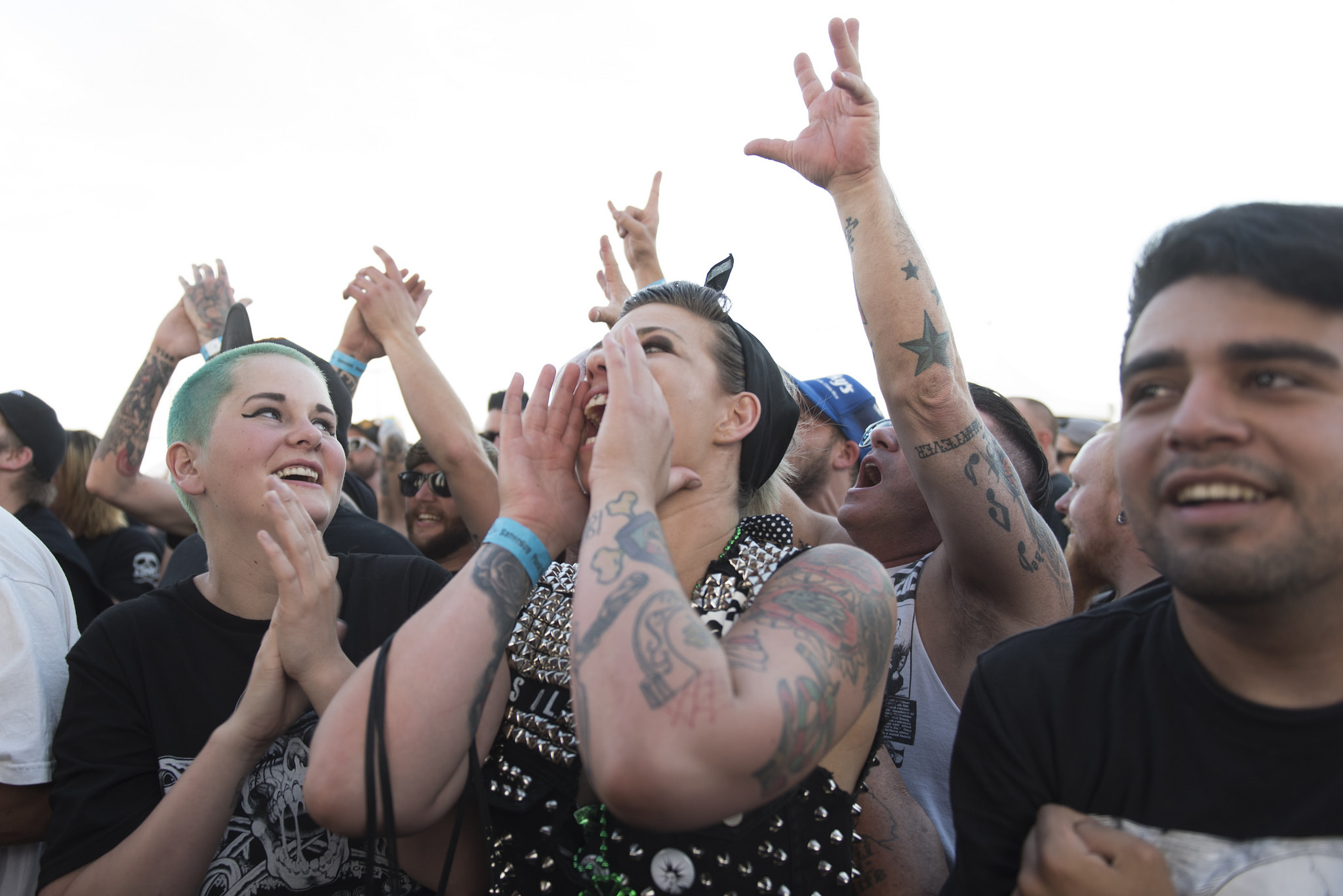 Festivalgoers sing along as The Bronx performs during the 18th annual Punk Rock Bowling & Music Festival in downtown Las Vegas Saturday, May 28, 2016.