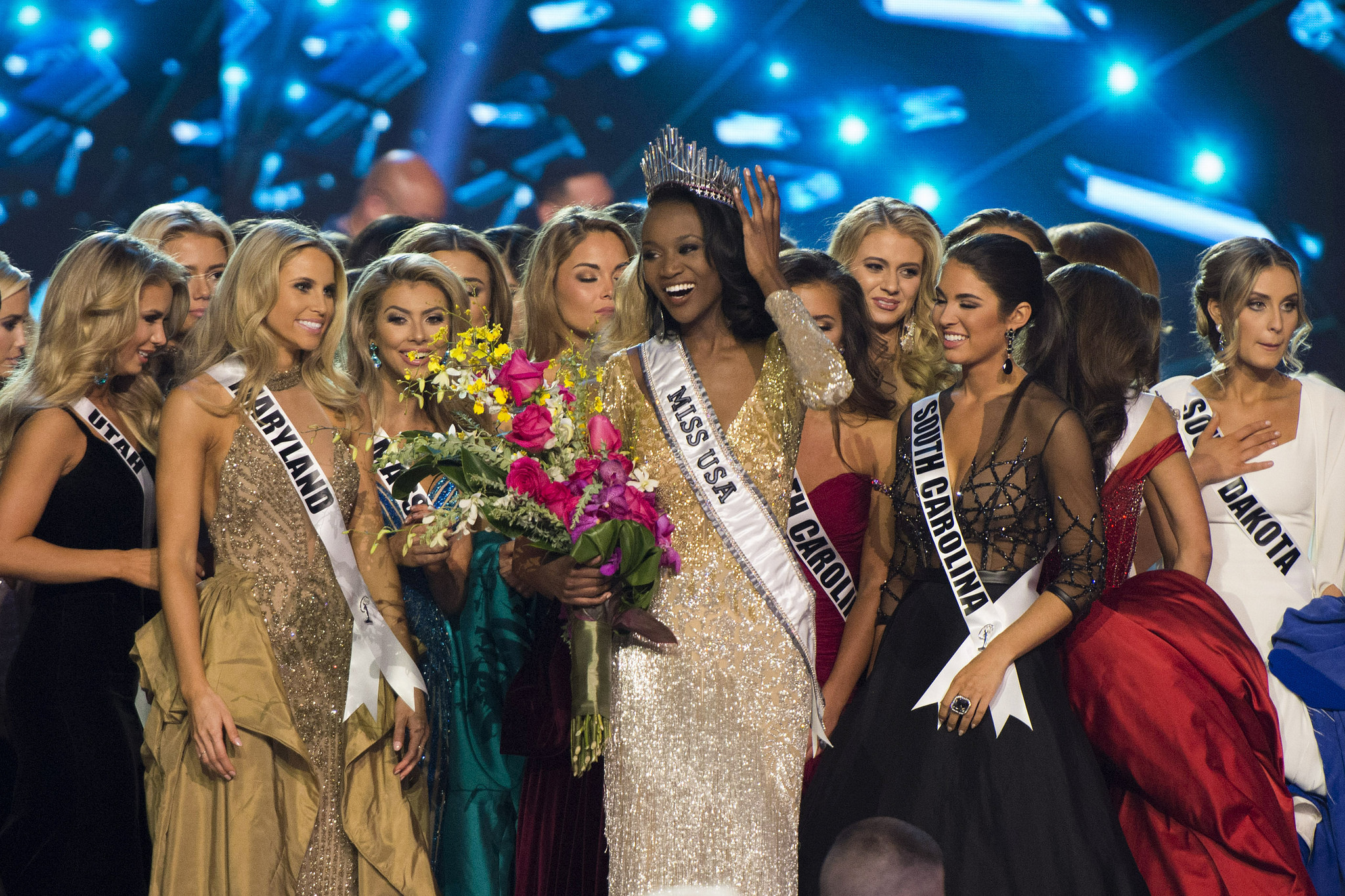 Miss District of Columbia, Deshauna Barber, celebrates with the other contestants after being crowned Miss USA during the Miss USA pageant at T-Mobile Arena in Las Vegas Sunday, June 5, 2016. Jason Ogulnik/Las Vegas Review-Journal