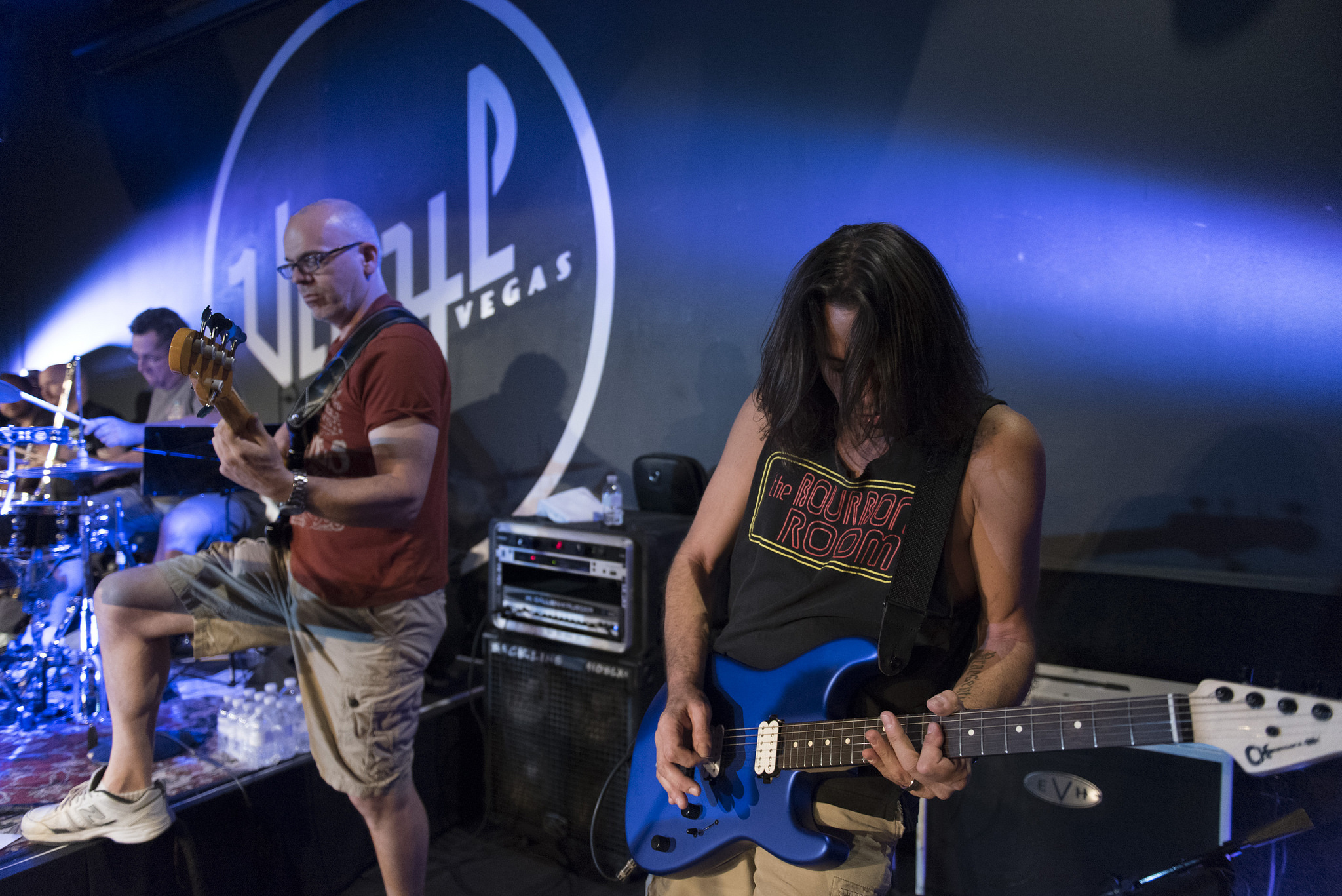 """Chris Cicchino, right, and Bill Pearce rehearse for this month's """"Mondays Dark"""" at Vinyl at the Hard Rock Hotel in Las Vegas Monday, June 20, 2016. This month's show raised money for Habitat for Humanity Las Vegas. Jason Ogulnik/Las Vegas Review-Journal"""