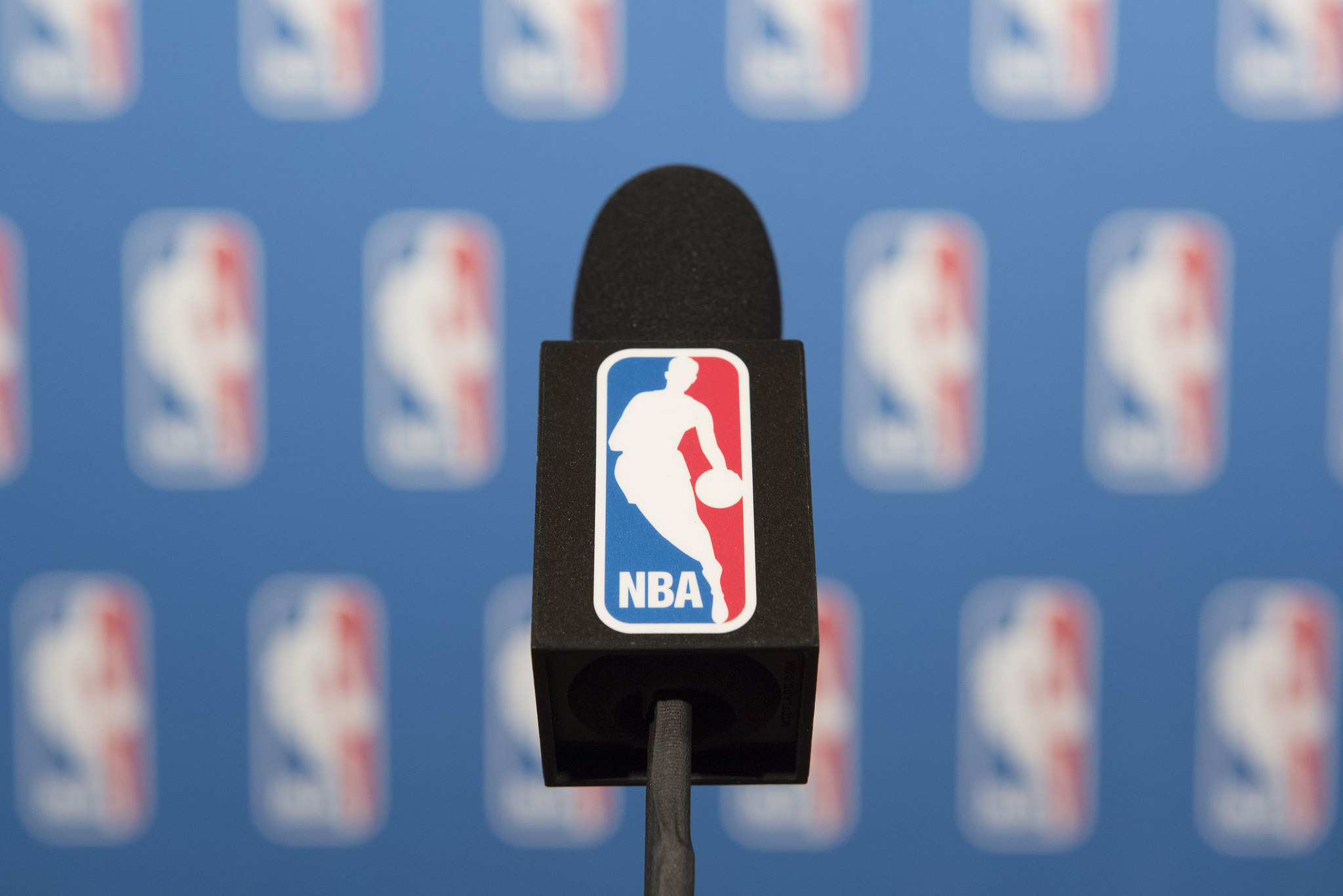A NBA branded microphone is seen at the podium prior to NBA Commissioner Adam Silver speaking to news media at Encore Las Vegas on Tuesday, July 12, 2016. Jason Ogulnik/Las Vegas Review-Journal