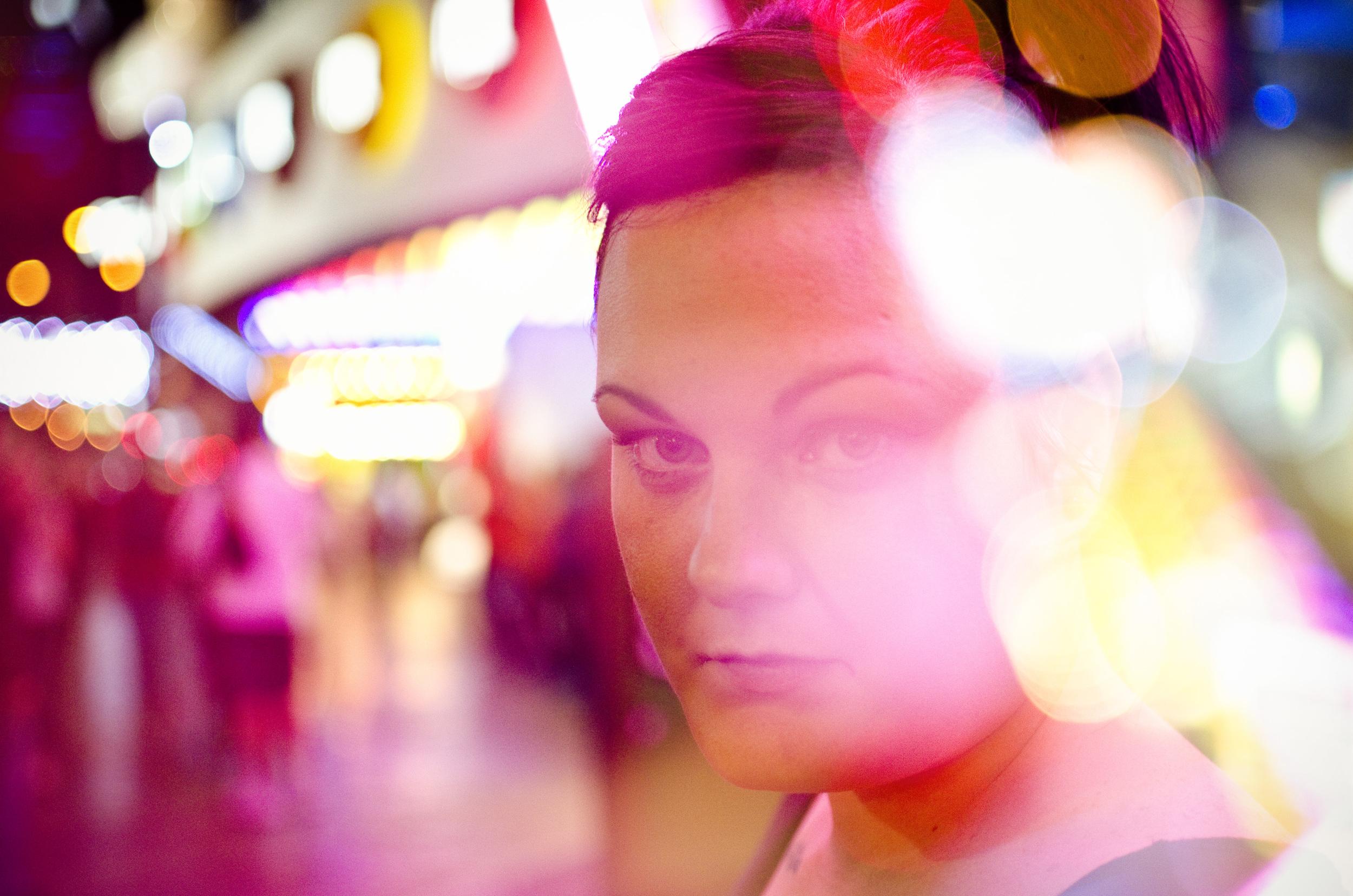 In this double exposure portrait Kayla Blair poses on Las Vegas Boulevard near Tropicana Avenue in Las Vegas Monday, Oct. 6, 2014.