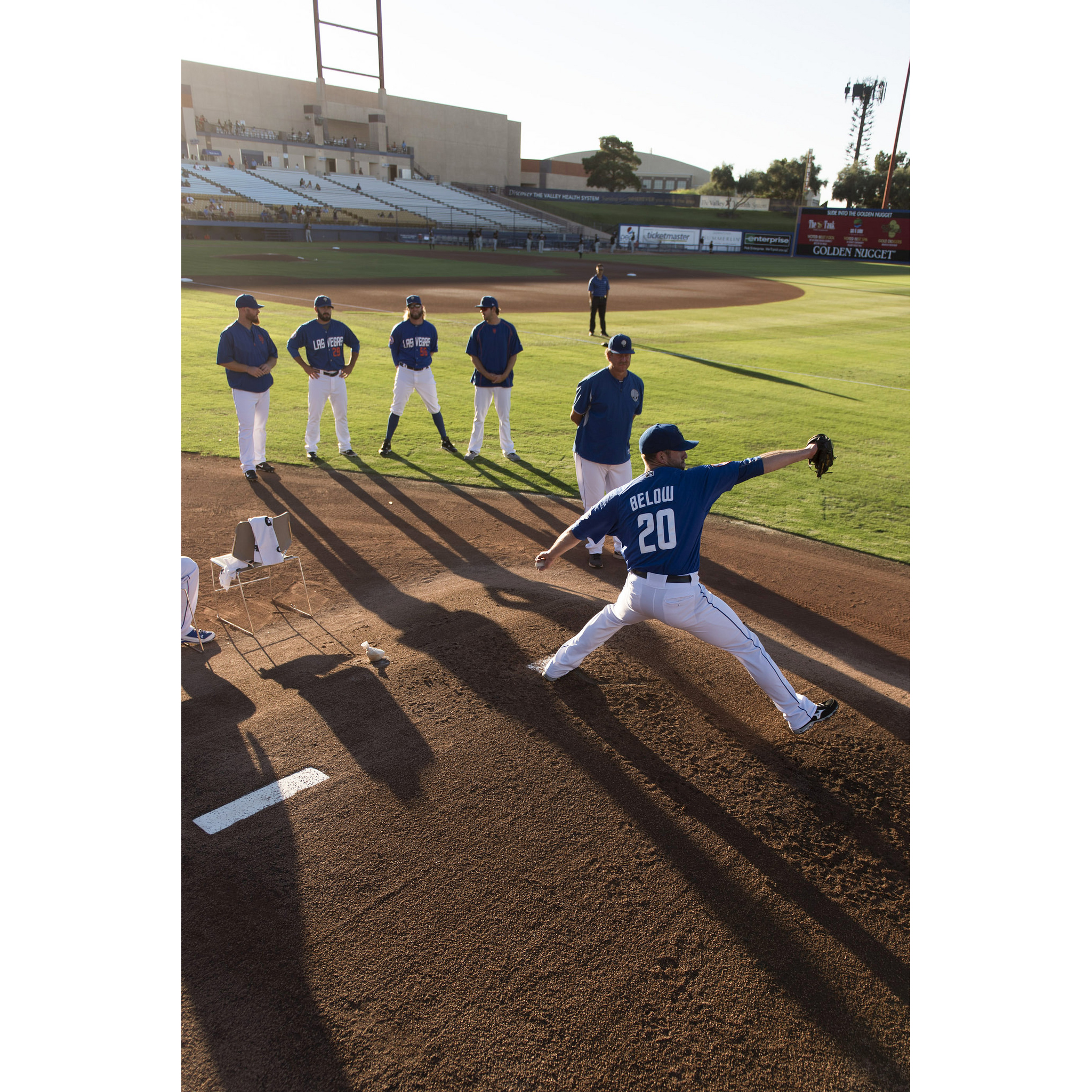 Las Vegas 51s pitcher Duane Below (20) warms up prior to a game against the Albuquerque Isotopes during the final day of his five day pitching cycle at Cashman Field in Las Vegas, Thursday, July 7, 2016. Jason Ogulnik/Las Vegas Review-Journal