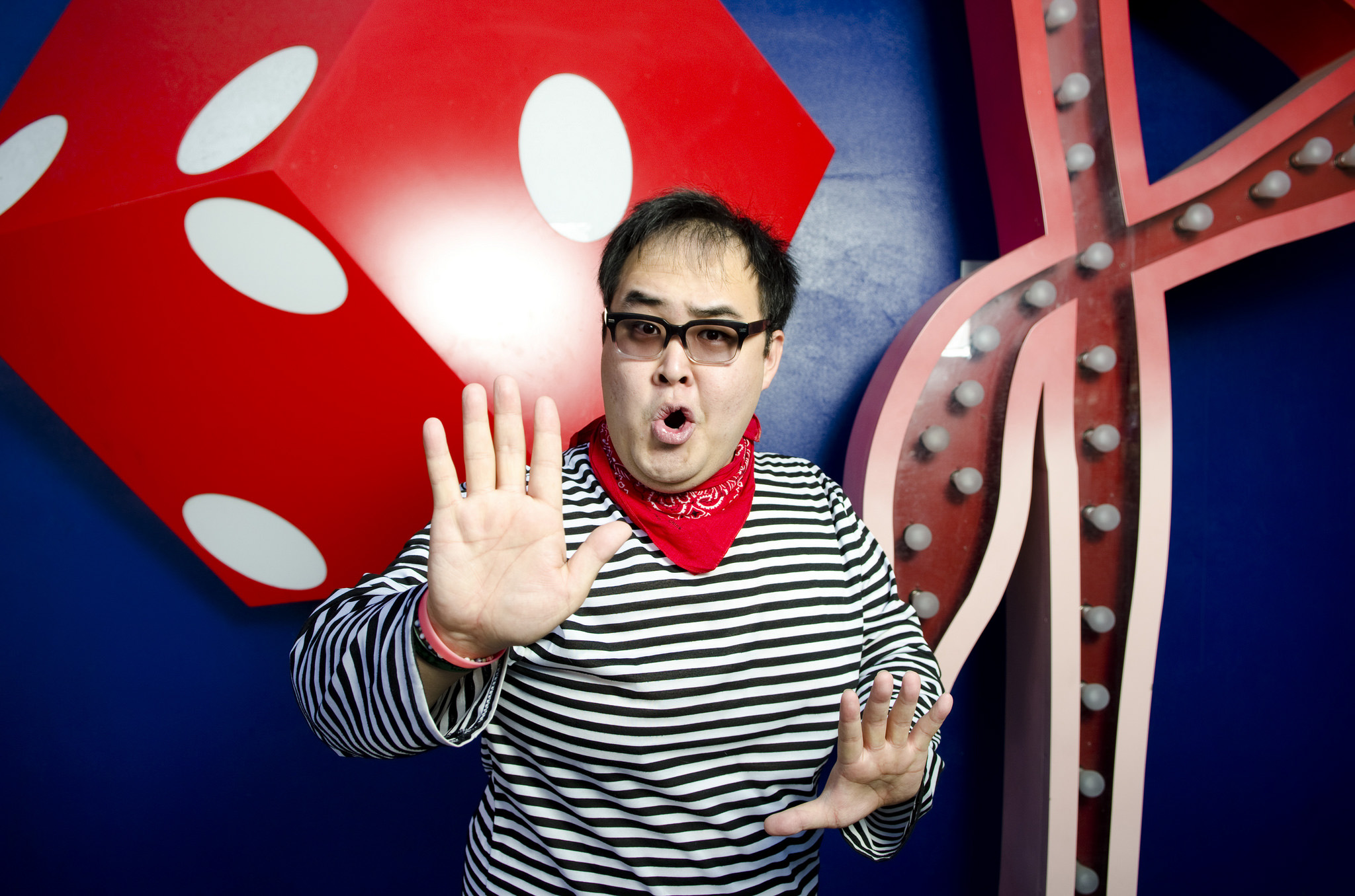 Actor Brent Mukai of the interactive comedy show Alibi poses during a cast portrait session at Fremont Street Experience in Las Vegas, Saturday, March 7, 2015.