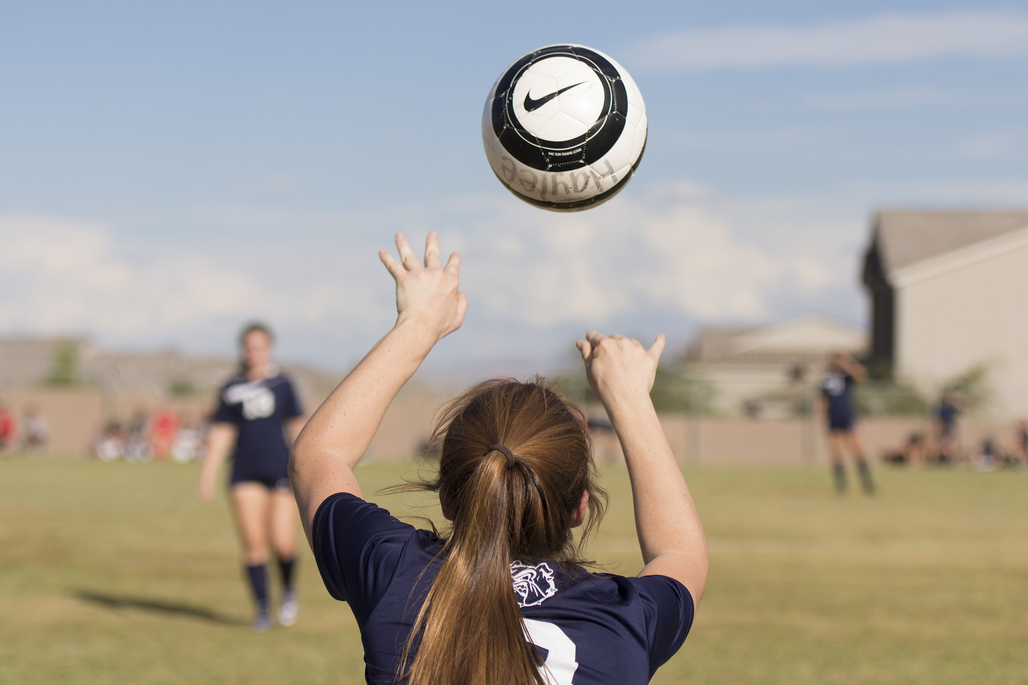 Centennial's Brooke Hawley (9) throws the ball in during a girls soccer game at Arbor View in Las Vegas, Thursday, Sept. 29, 2016. Jason Ogulnik/Las Vegas Review-Journal