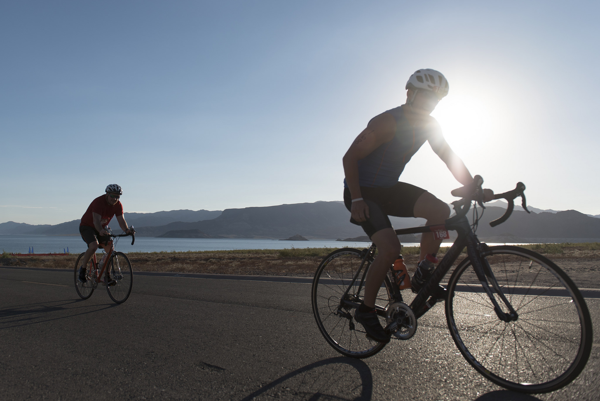 Cyclists climb uphill during the second leg of the Las Vegas Triathlon at Lake Mead near Boulder City, Saturday, Oct. 1, 2016. Jason Ogulnik/Las Vegas Review-Journal