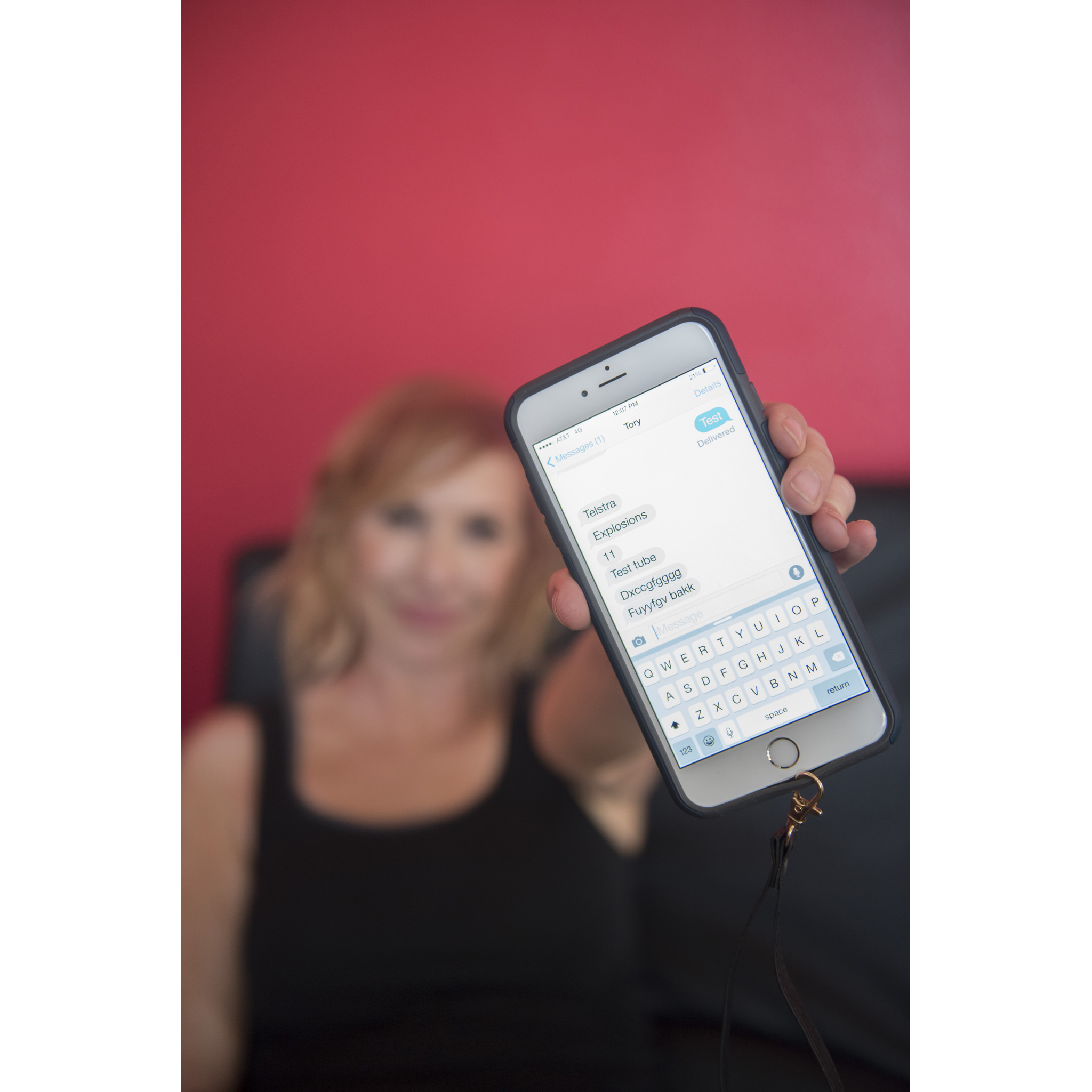 "On the set of the Travel Channel show ""Thrill Factor"" Actor Kari Byron shows the effects of her co-star Tory Belleci attempting to answer questions via text message when subjected to a high g-force at Henderson Executive Airport in Henderson, Nev., Tuesday, July 7, 2015."
