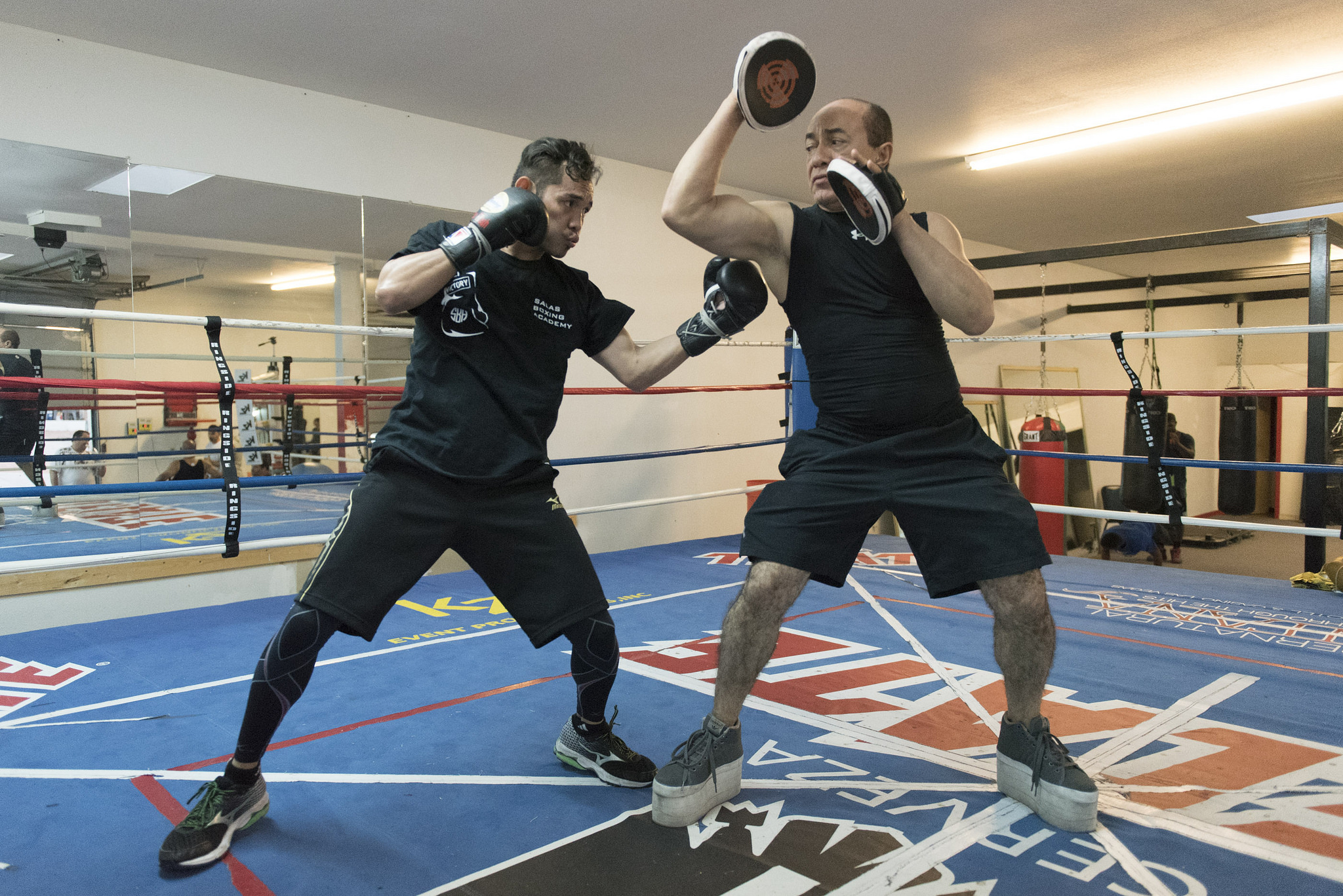 On Monday, Oct. 17, 2016 at Bones Adams Boxing Gym in Las Vegas, Nonito Donaire, left, trains with Ismael Salas to defend Donaire's Super Bantamweight title against Jessie Magdaleno at his Nov. 5 fight at the Thomas & Mack Center. Jason Ogulnik/Las Vegas Review-Journal