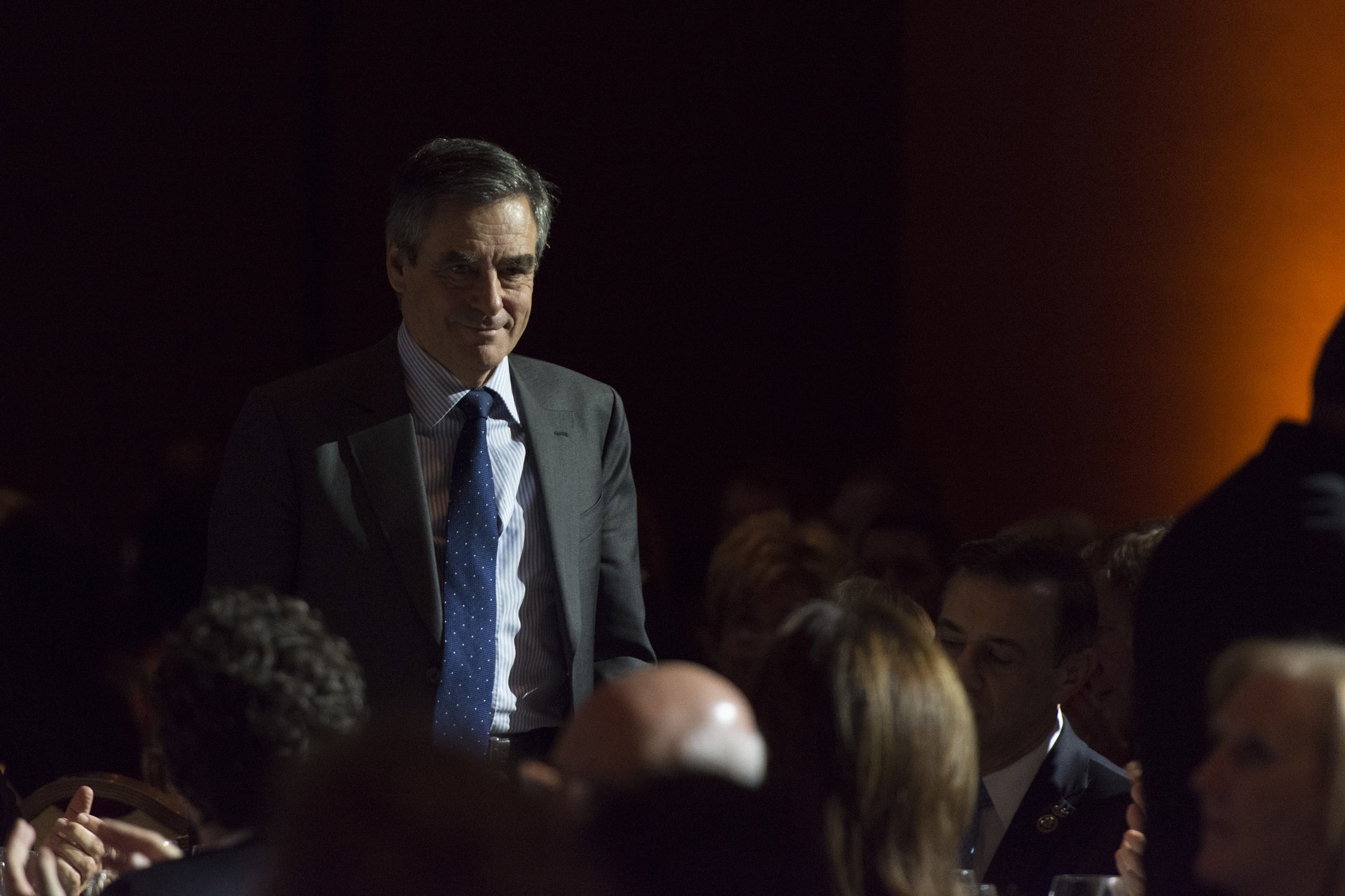 Francois Fillon, French Republican presidential candidate, stands as he's introduced by Gary Shapiro, CEO of the Consumer Technology Association, during the Leaders in Technology Dinner at the International Consumer Electronics Show (CES) in Las Vegas, Nevada, USA, on January 06, 2017. Jason Ogulnik/Sipa Press