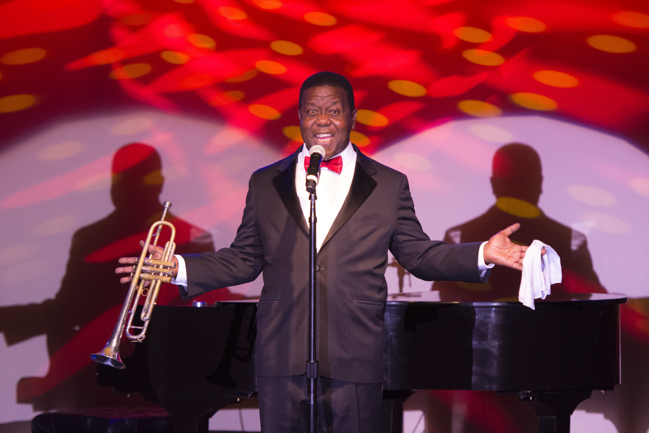 Louis Armstrong impersonator Troy Anderson performs during The Reel Awards at the Golden Nugget Hotel & Casino in Las Vegas, Nev., on February 20, 2017. The awards show is meant to be a humorous tribute to the Academy Awards. (Jason Ogulnik/Sipa USA)