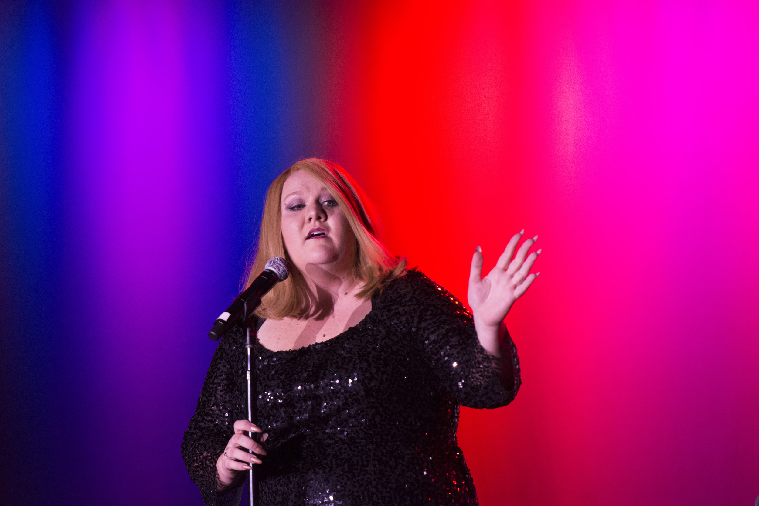 Adele impersonator Andrea Tyler performs during The Reel Awards at the Golden Nugget Hotel & Casino in Las Vegas, Nev., on February 20, 2017. The awards show is meant to be a humorous tribute to the Academy Awards. (Jason Ogulnik/Sipa USA)