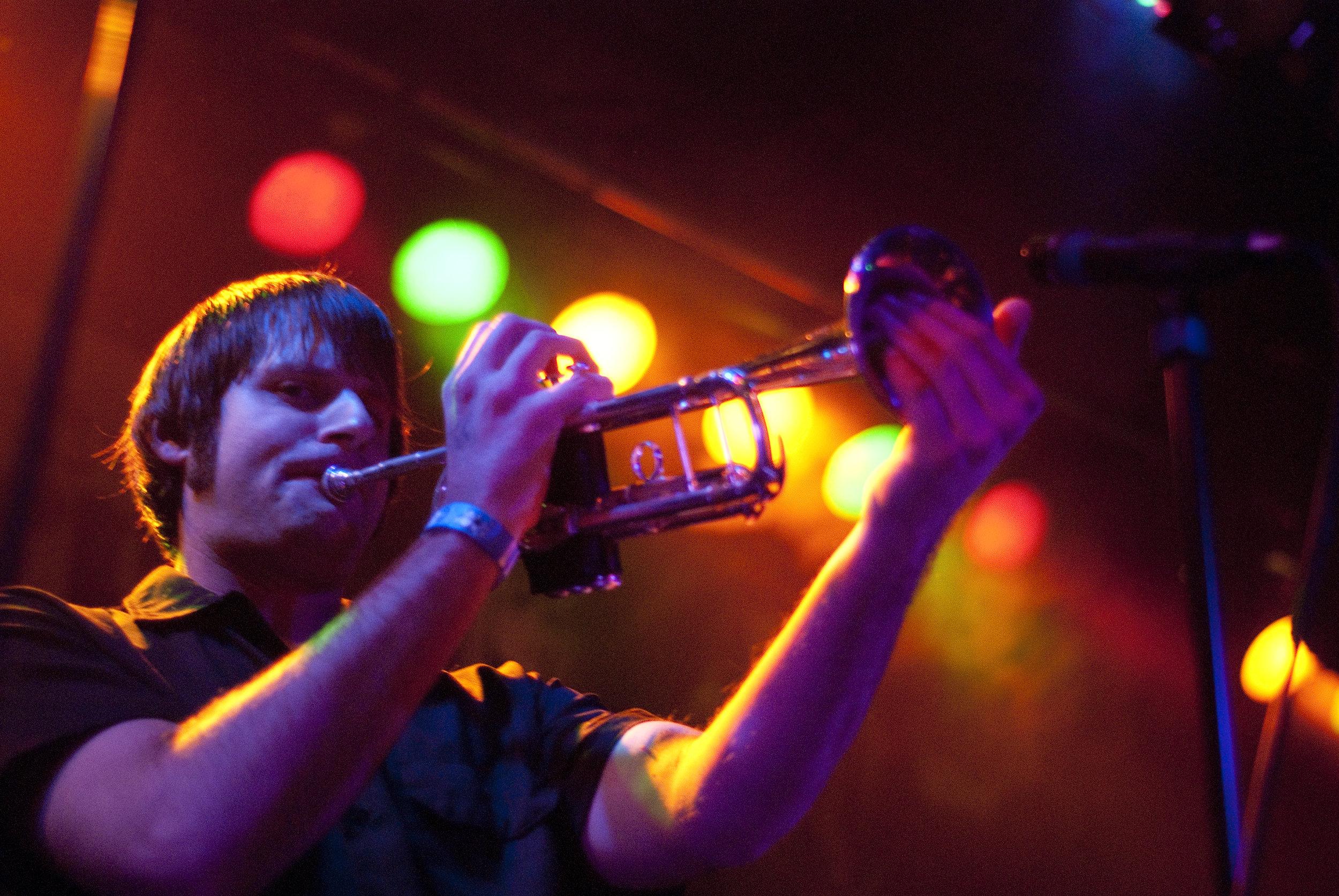 Mark Bush performs with Voodoo Glow Skulls at Slim's in San Francisco, Calif..