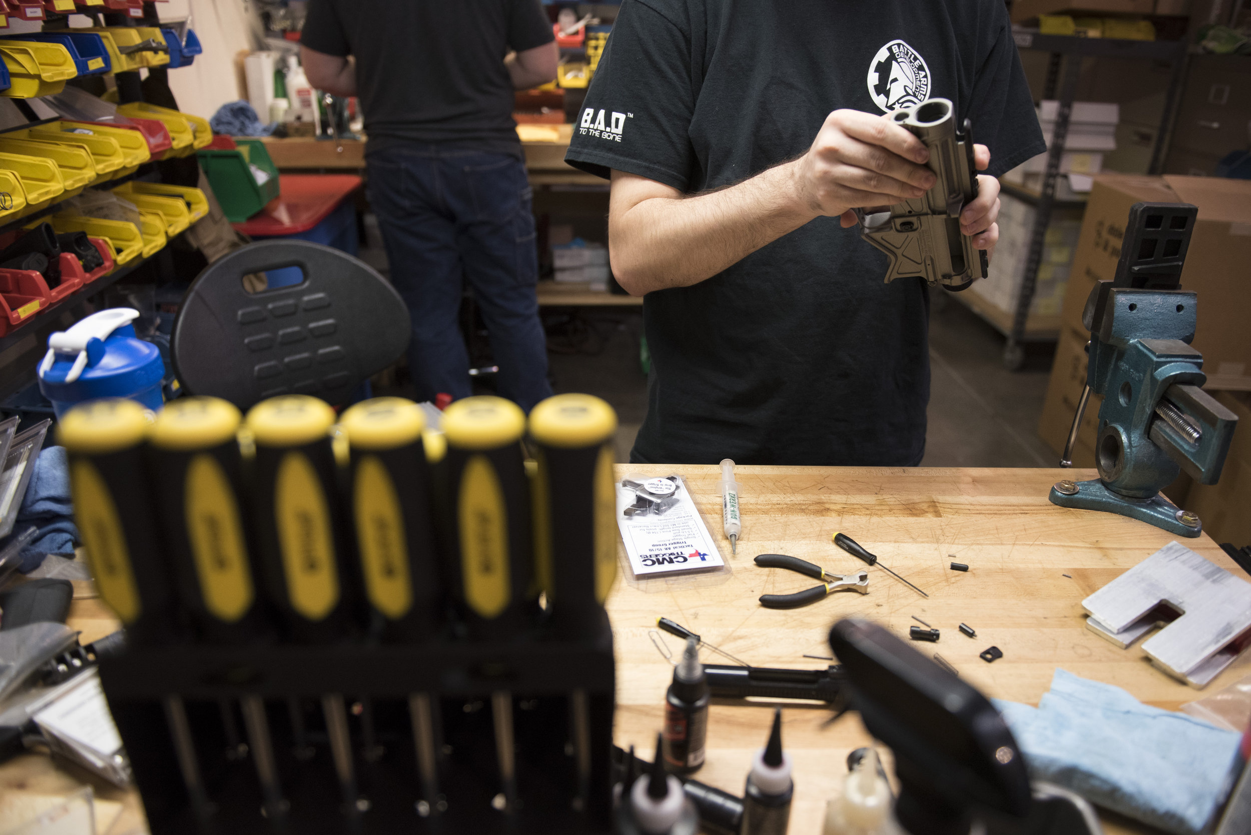 A Battle Arms Development employee manufactures the lower receiver for an AR-15 at the Battle Arms Development office in Henderson, Nev., Nov. 14, 2016.