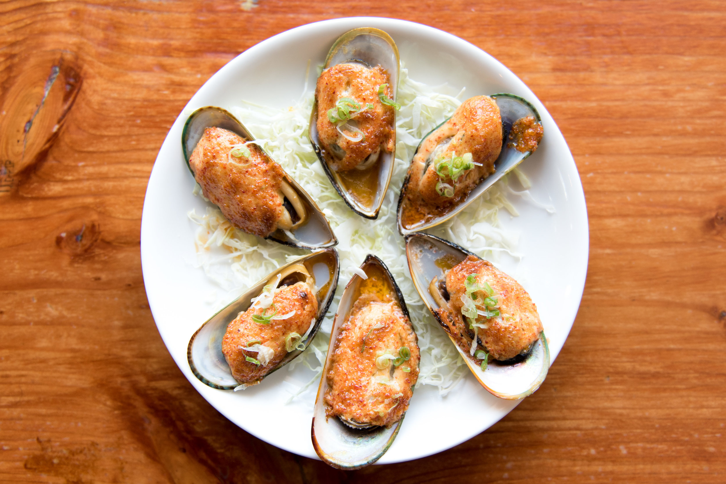 Baked muscles at 808 Sushi in Las Vegas.