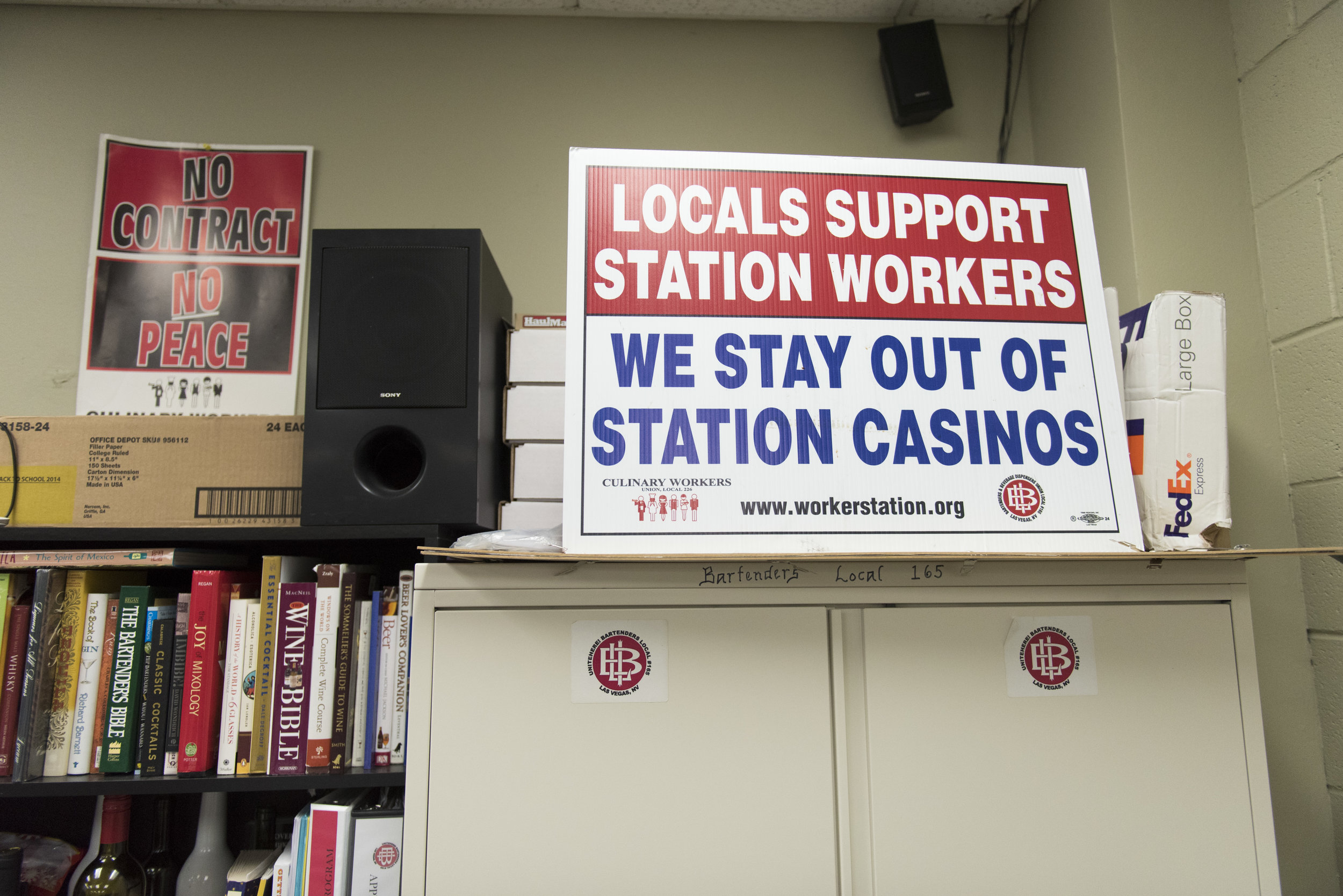 Pro-unionization signage for Station Casinos workers is seen in a classroom at the Culinary Academy of Las Vegas.