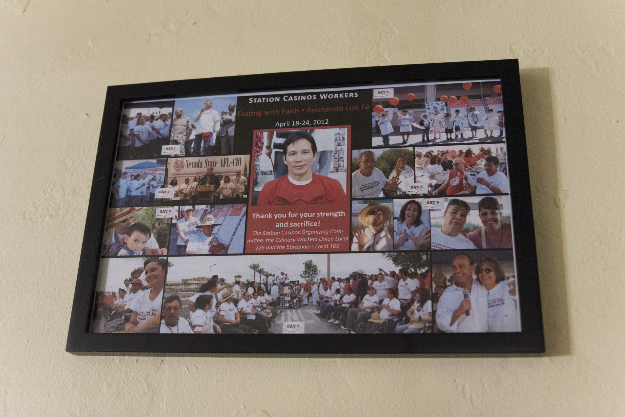 A collage commemorating a hunger strike by Station Casinos employees for the right to unionize is seen at the home of Casiano Corpus Jr..