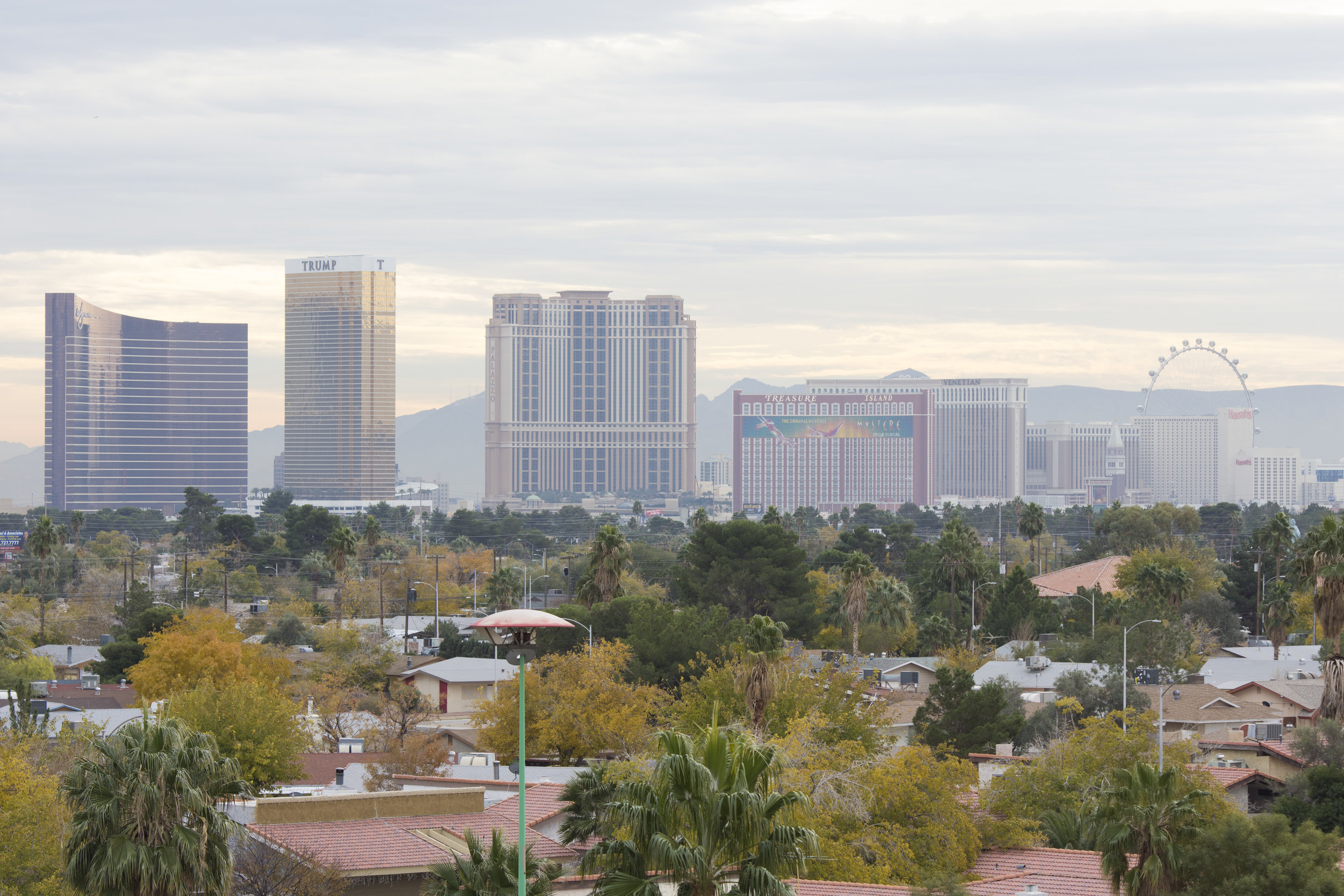 The Las Vegas Strip is seen in the distance.