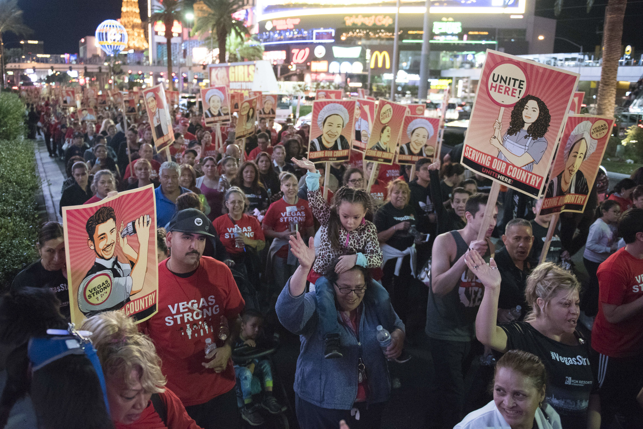 Thousands of Culinary Workers Union Local 226, Unite Here! Bartenders Local #165 and pro-union supporters march along the Las Vegas Strip.