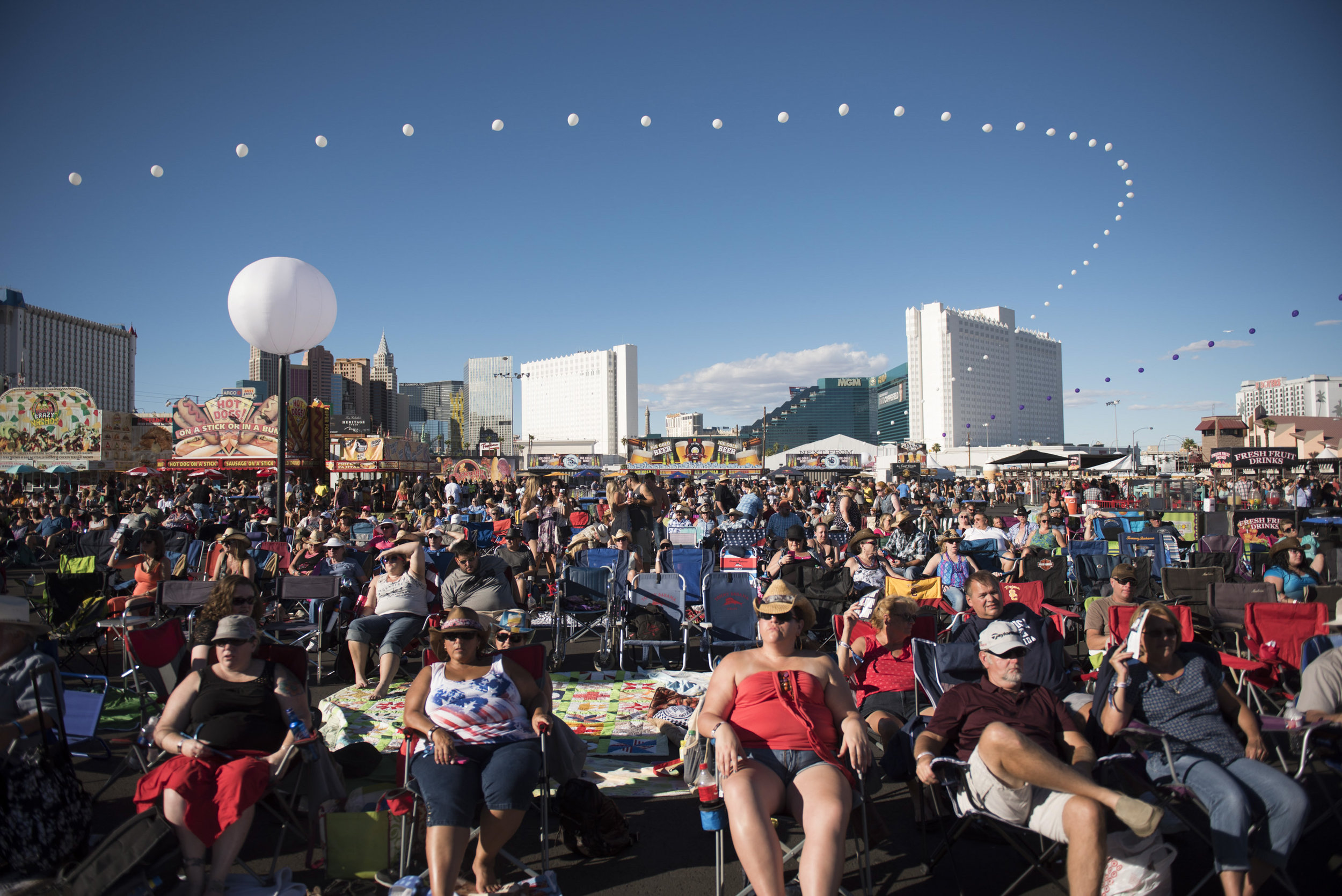 Concert goers enjoy live music at the Route 91 Harvest Country Music Festival.