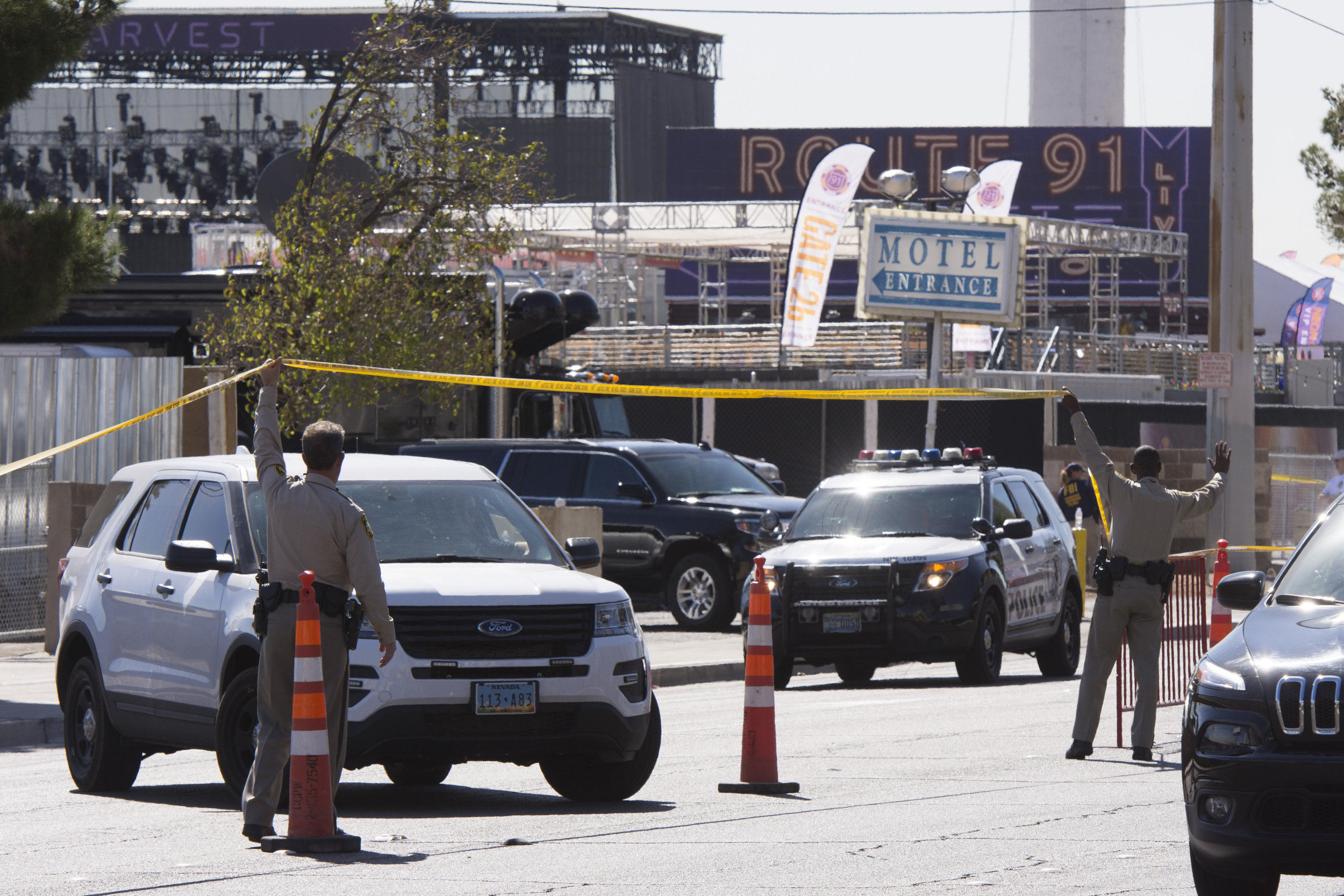 Las Vegas Police work following the Route 91 Harvest Country Music Festival mass shooting.