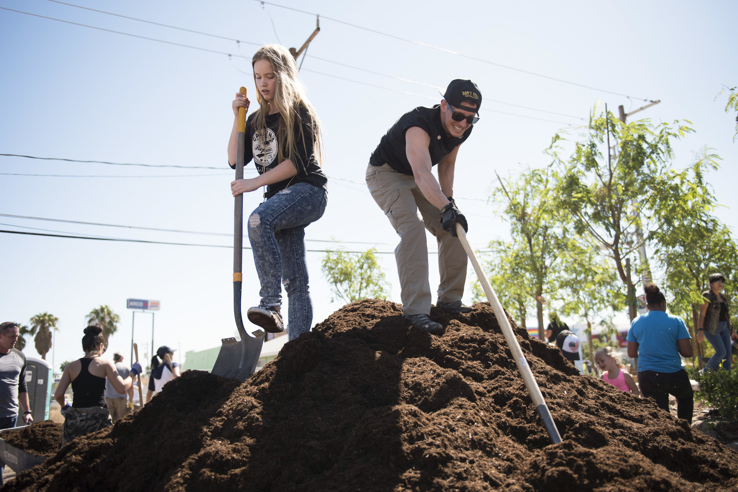 In the week following the Route 91 Harvest Country Music Festival, volunteers work on the Las Vegas Community Healing Garden in downtown Las Vegas to commemorate the victims.