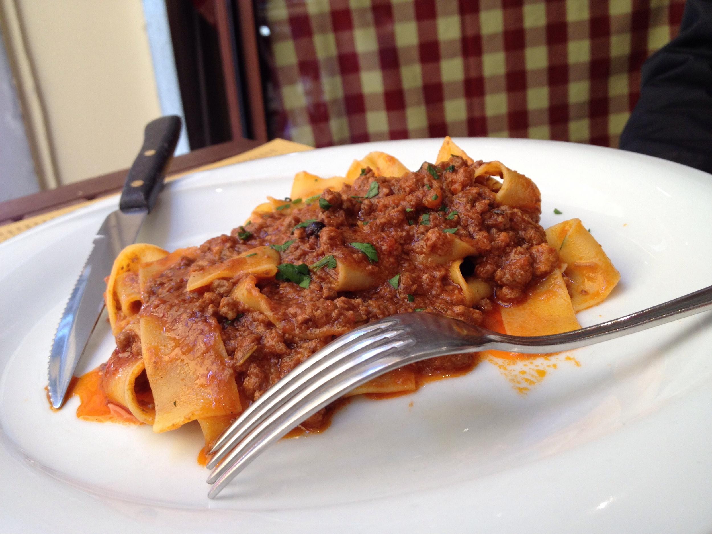 Pappardelle al Cinghiale (pasta with wild boar)