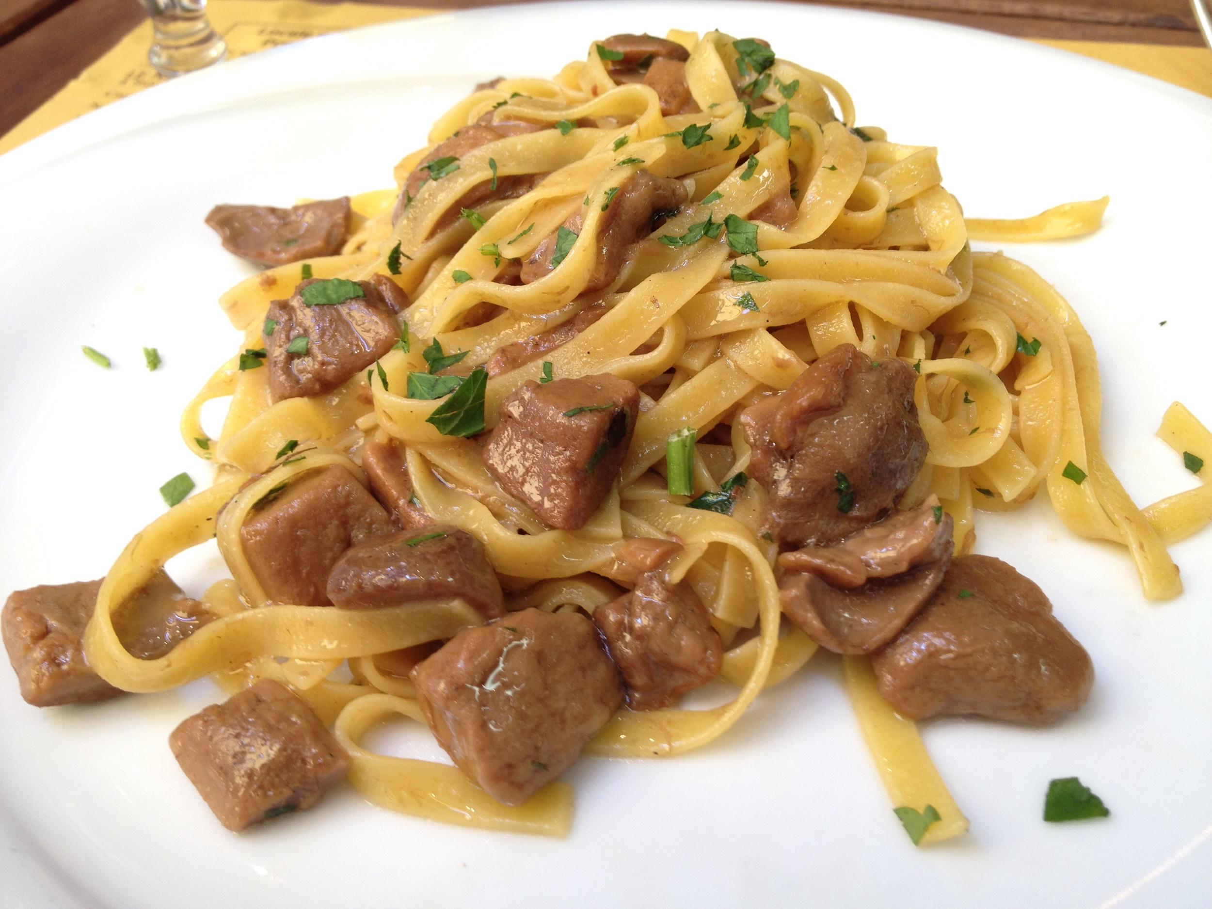 Tagliatelle ai Porcini (pasta with wild porcini mushrooms)