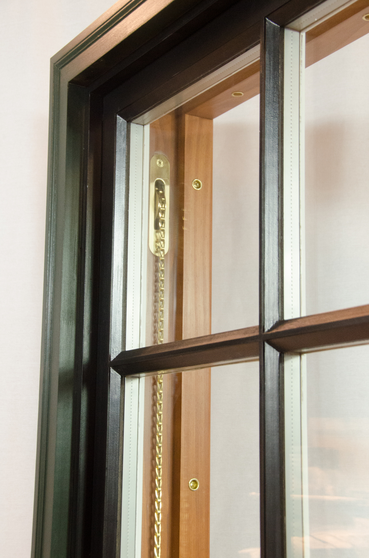 Brass Sash Pulleys & Chain on a custom Right Path Windows & Restoration window