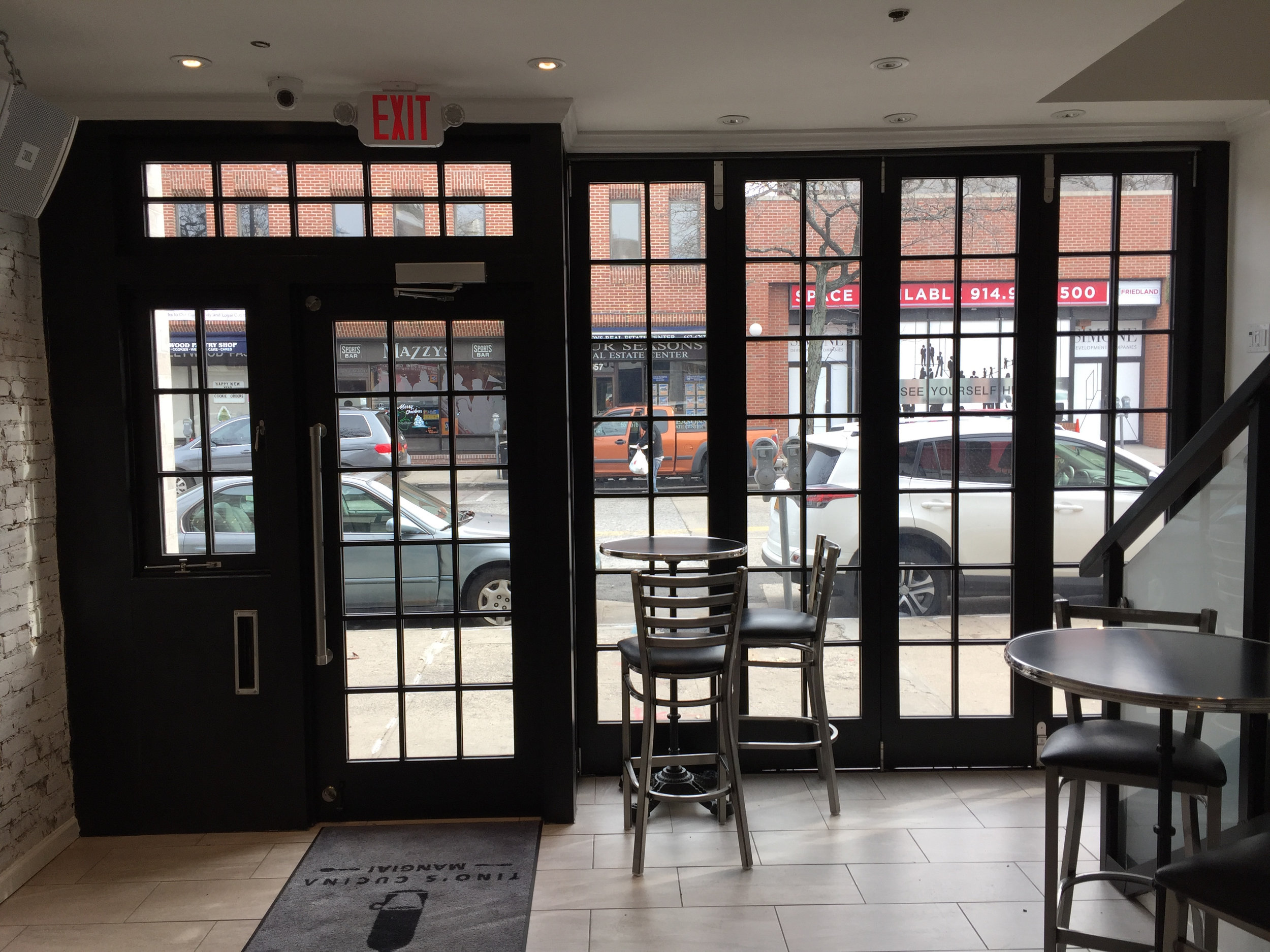 Right Path Windows & Restoration custom storefront facade as seen from the interior