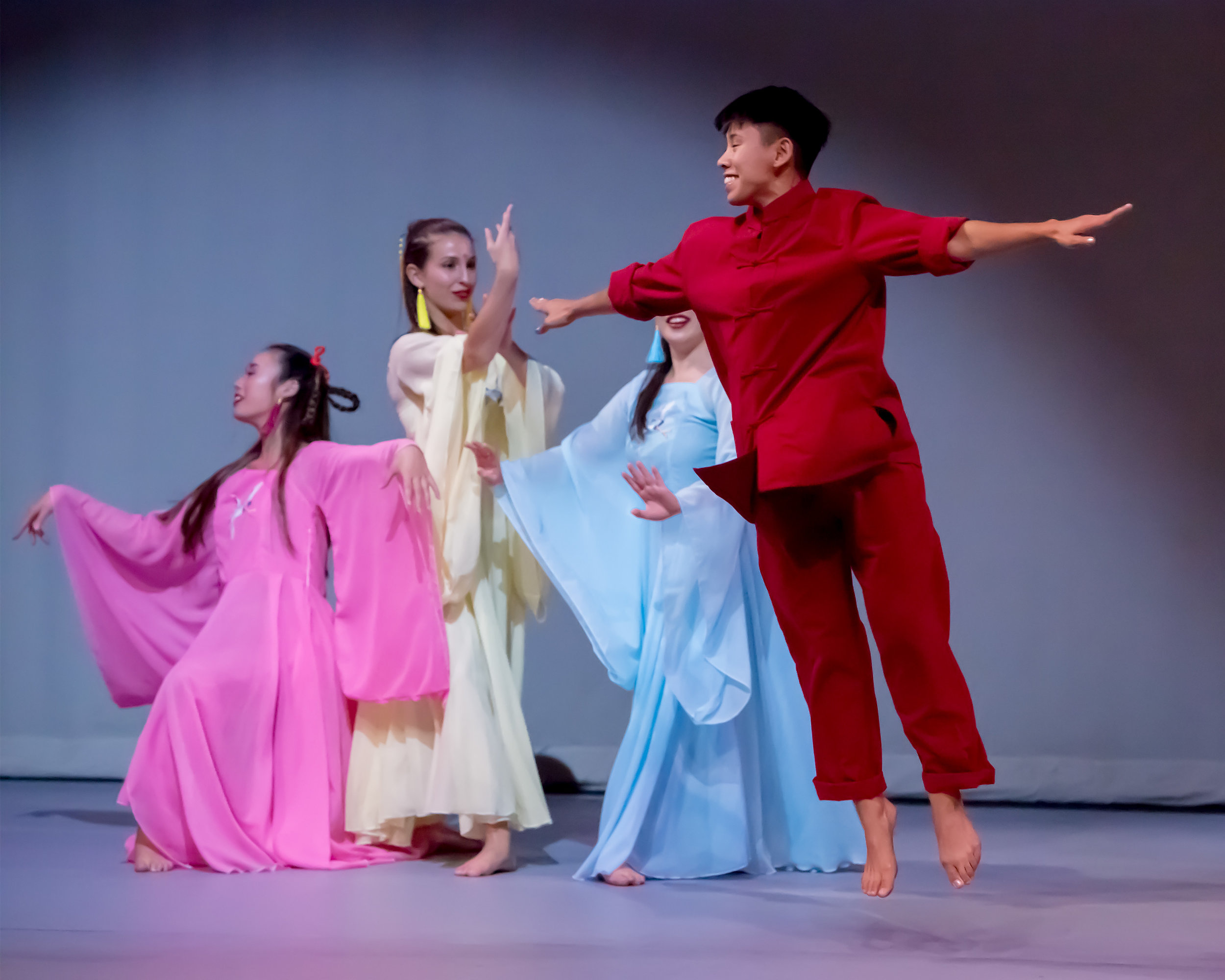 """Kristianne Salcenes  (red outfit) as the Inn Keeper in """"Lord of the Cranes"""" (photo: David Tuman)"""