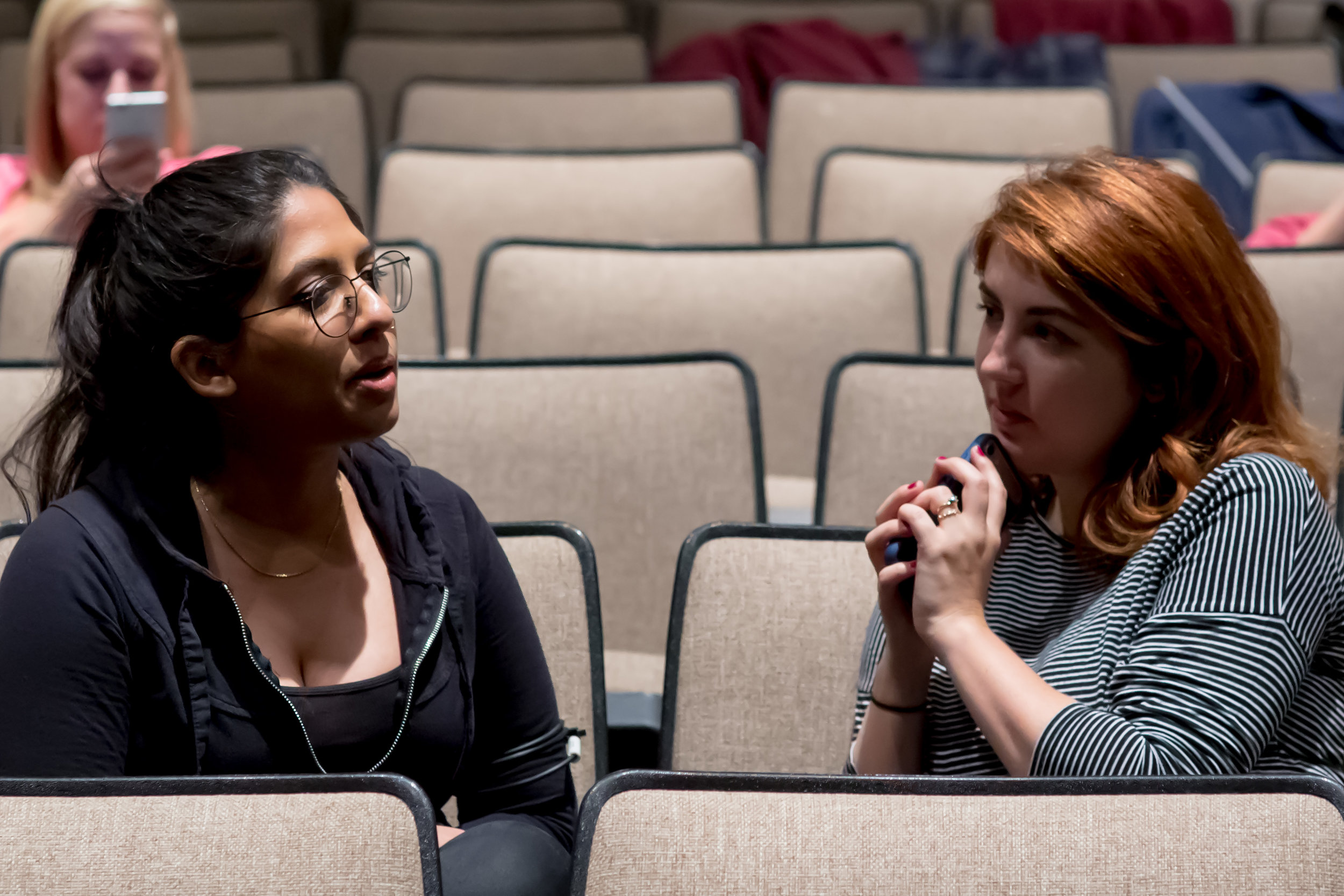 Teodora Totoiu (right) in conference with camera operator Samia Zaidi on the day of the filming.