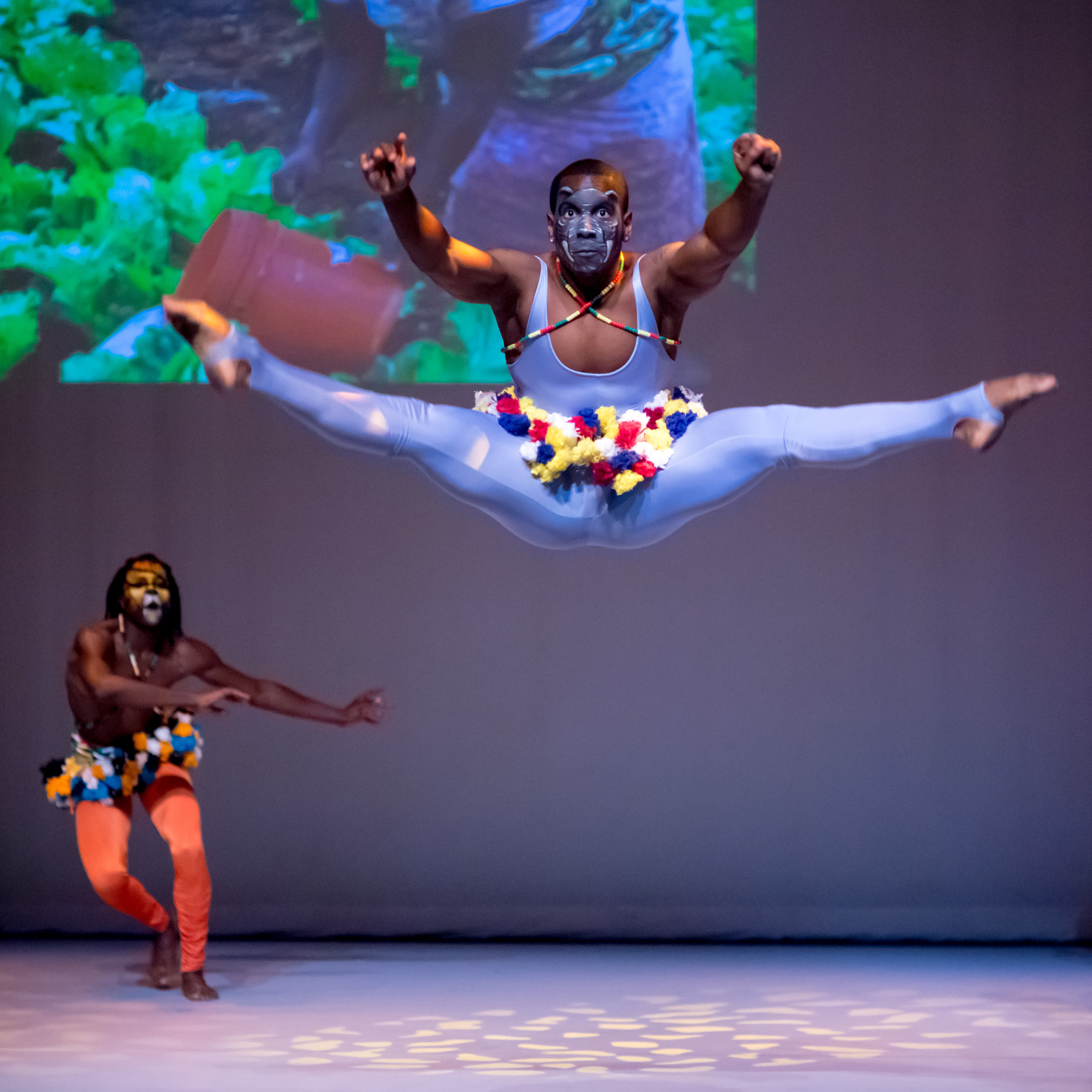 "Dancer Sherrod Tate (foreground) plays the Elephant in ""Cat's Protector,"" choreographed by Anindo Marshall"