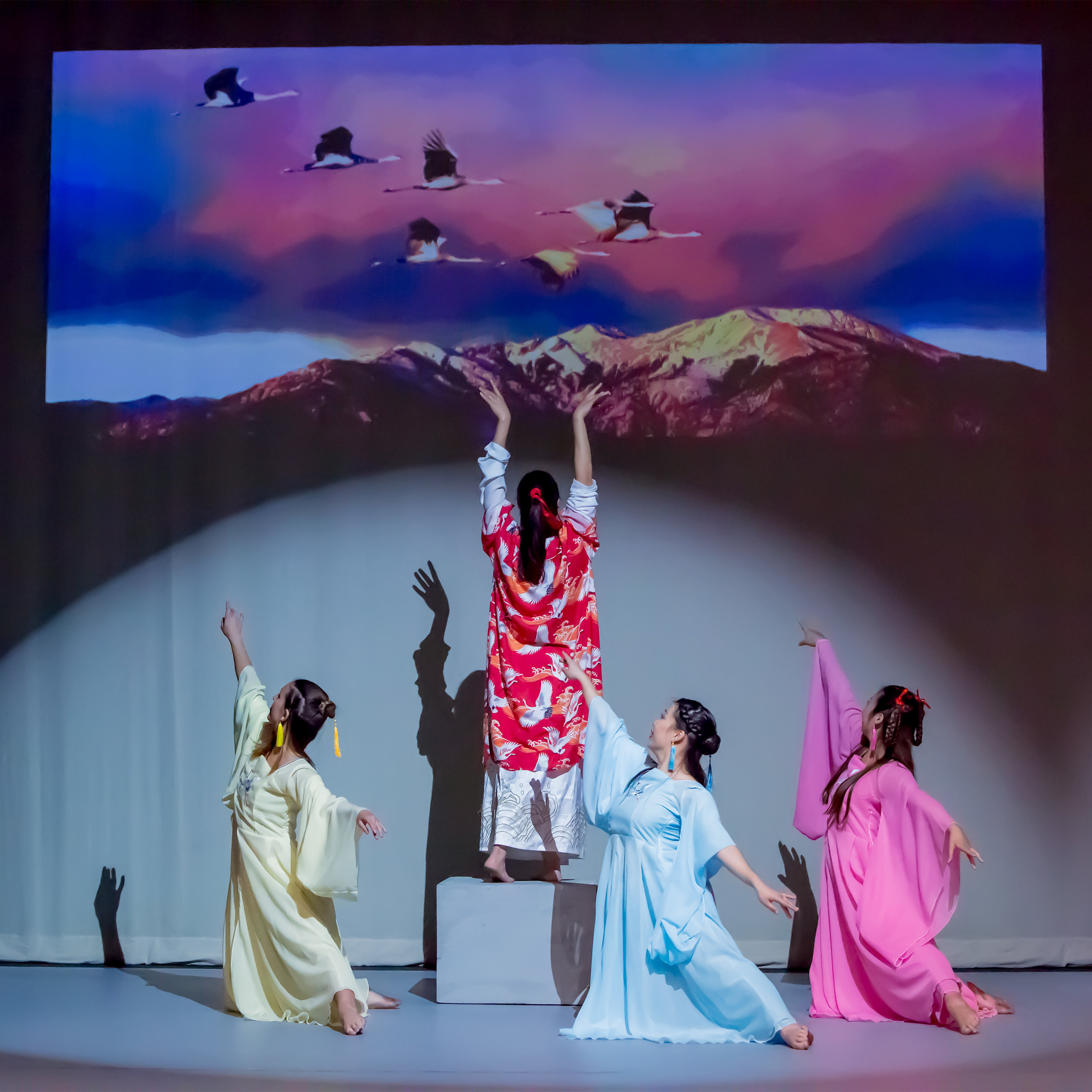 "(L to R) Kelsey Manes, Jingqui Guan (choreographer), Mizuki Sako and Kyra Sakamoto as Cranes in ""Lord of the Cranes"""
