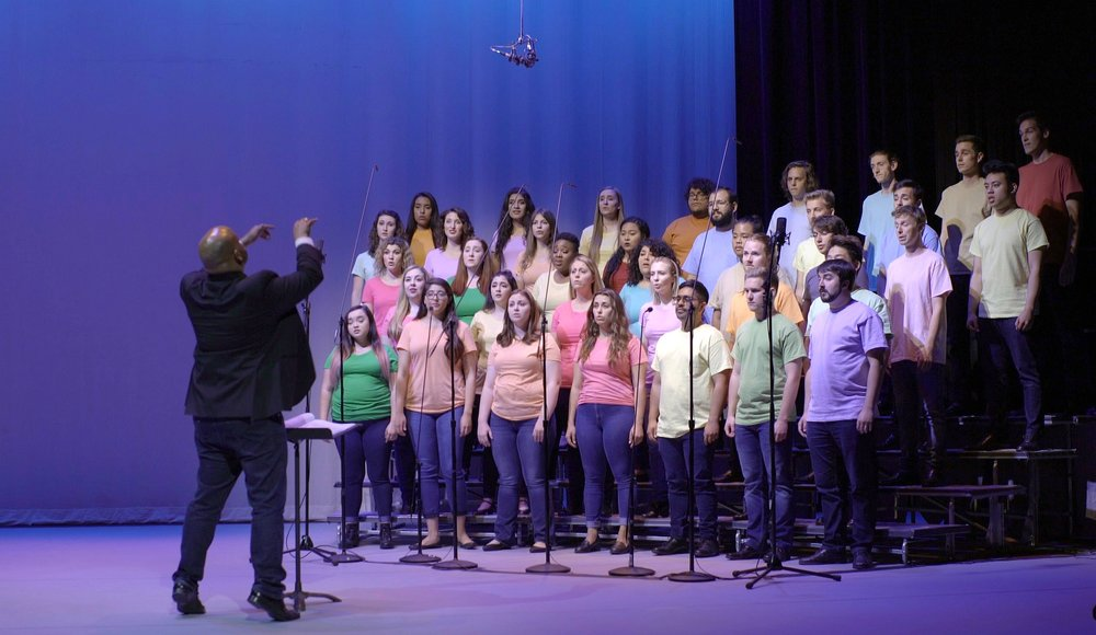 Jonathan Talberg conducts the Bob Cole Choir of CSU Long Beach for Choral Tales filming