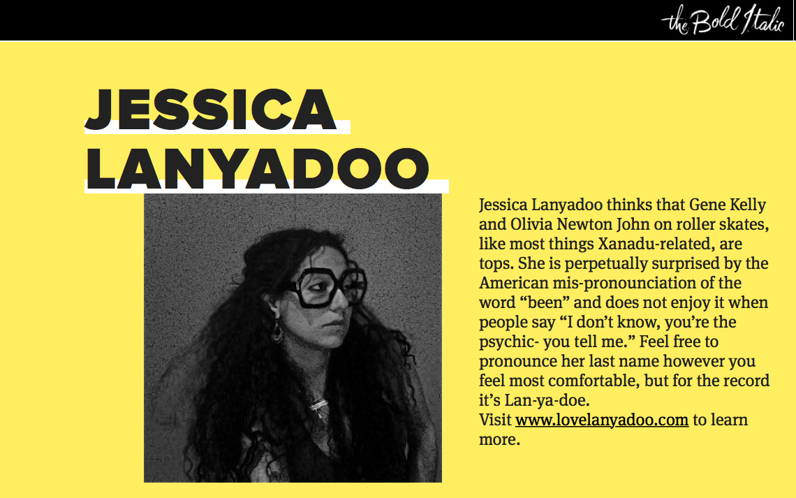 Tuth talk with jessica lanyadoo was originally written for and published by the bold italic. it ran therefrom march 2014-april 2015.