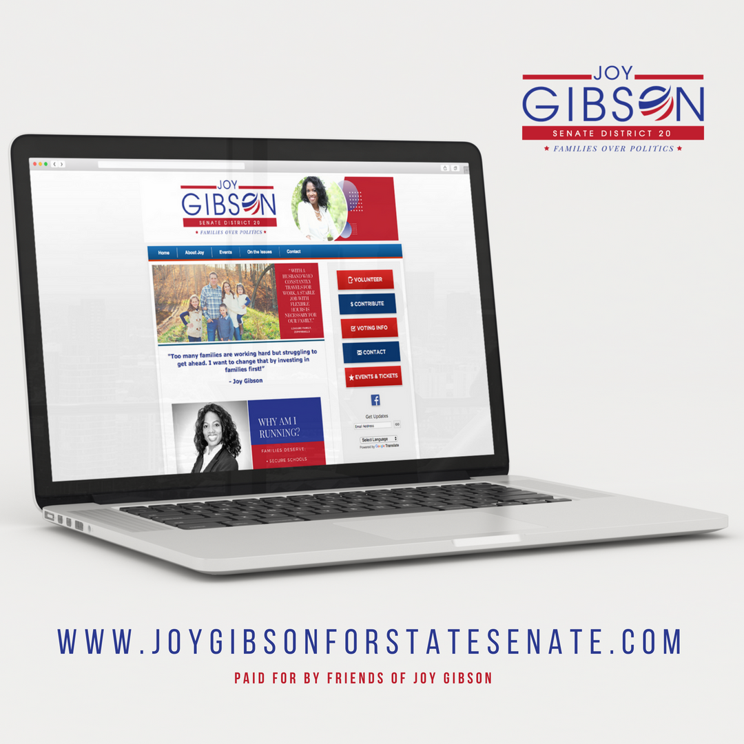 JOY GIBSON FOR STATE SENATE - WEBSITE DESIGN BY BLISS CREATIVE ATLANTA, 2018