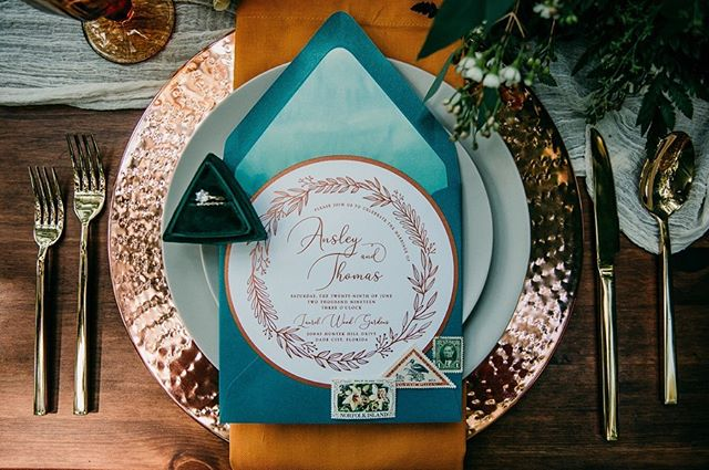 Copper and Teal were the theme of this Garden Styled Shoot and it was everything I dreamed it would be... 🌿✨ • • • • • • Photography | Ashley Victoria Photography Stationery | @blisscreativeatl Venue | Laurel Wood Gardens Hair | Sheer Perfection Makeup | @beautybykrista1 Cake | @thepinkmixerbakingco Florist | @flowerchild.florist Ringbox | @thevelvetgardenringbox Dress | @reclamationdesigncompany Woodland Custom Design | @woodlandcustomdesign Rentals | @flockdecor Couple |  Meaghan Rich