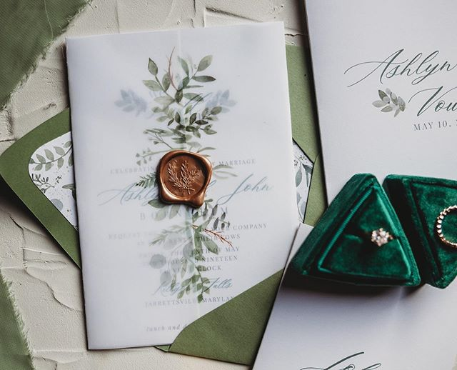 Green & Copper | Vow Renewal Invitation Suite 🌿✨ 📷 Ashley Victoria Photography