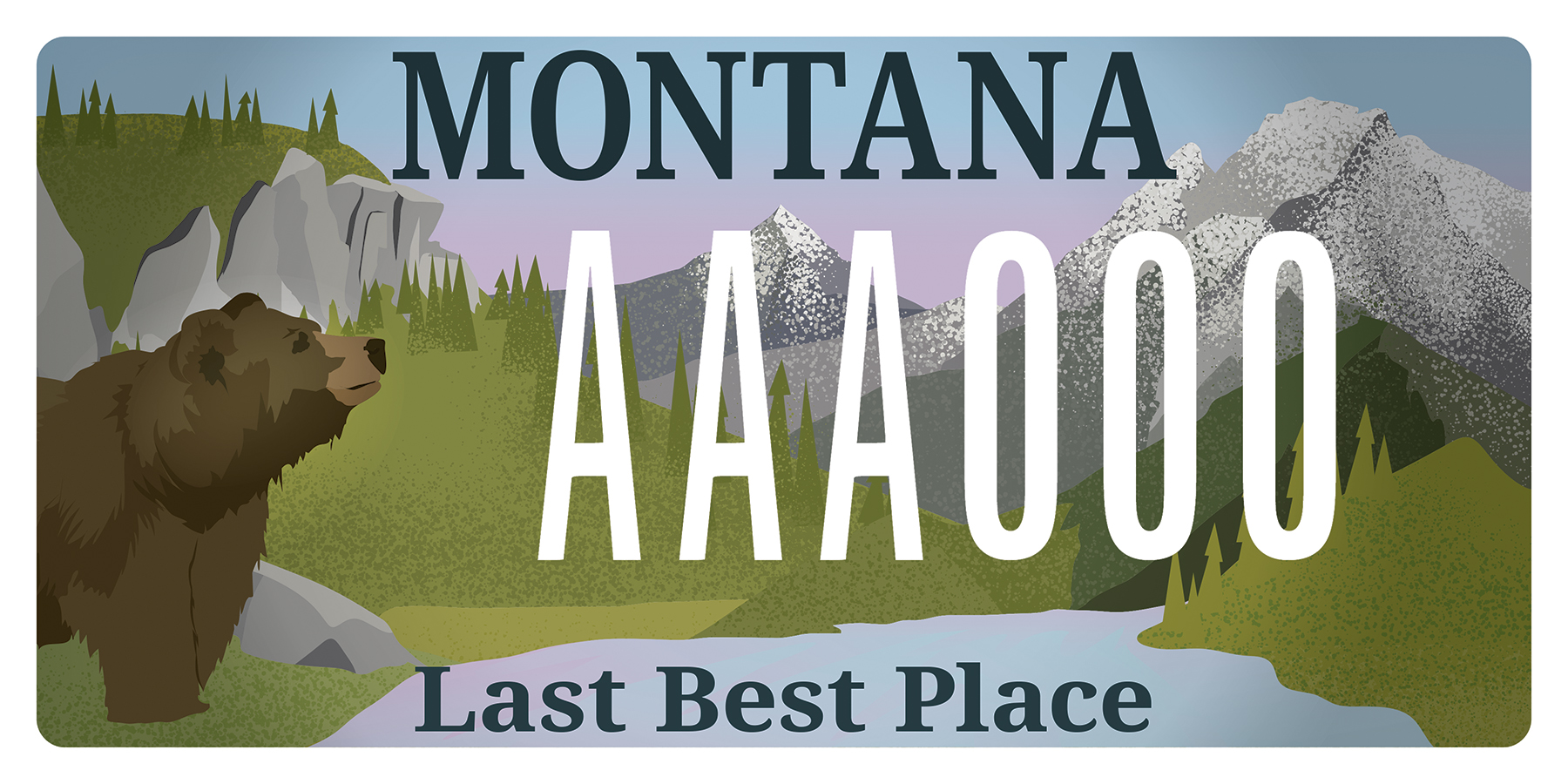 Montana License Plate,Graphic Design, and Illustration by Nikki Simon in Helena, Montana. Save the Smith River, MEIC.