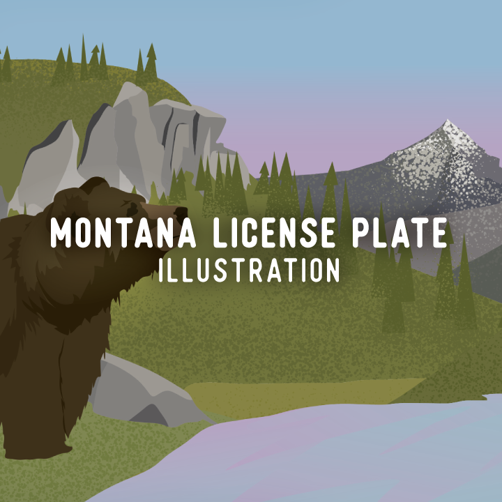 Montana License Plate Illustration, MEIC, Montana Environmental Information Center, Montana Specialty Plate