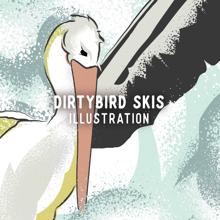 Dirtybird Ski Top Sheet Design, Illustration, Custom Skis