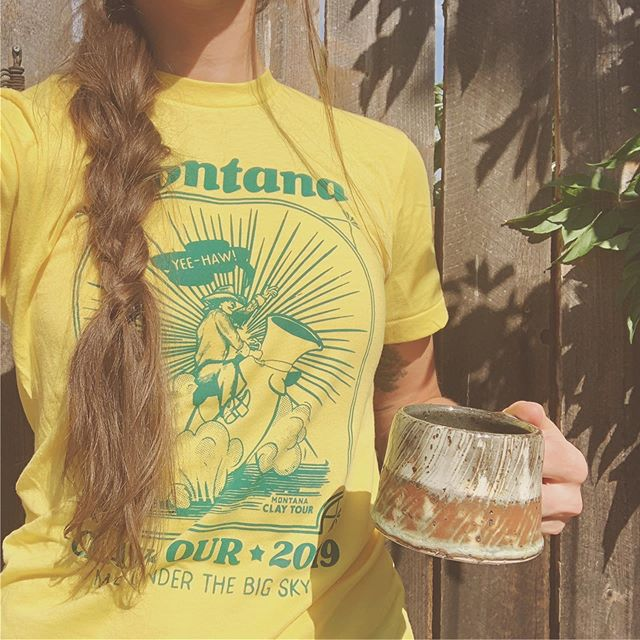The official unofficial 2019 Montana Clay Tour t-shirt. Does there need to be an after party sale? 🤔🔥 . . . #makersmovement #makersgonnamake #illustration #imadethis #lifestyle #potsinaction #handmade #supportlocal #ceramics #wanderlust #throwback #retroaesthetic #1970s #screenprinting #artistsoninstagram #studiolife #thehappynow