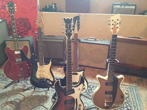 "an arsenal of guitars during the ""Soul Shop recordings"""