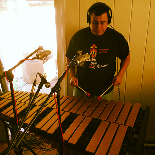 "The amazing Marty Lush tracking vibraphone in Los Angeles for the Trabants' album ""Cinematic"""