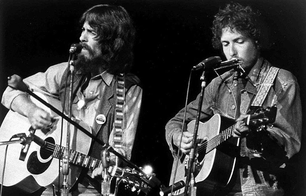 Mr. Harrison and Dylan at the Concert for Bangla Desh