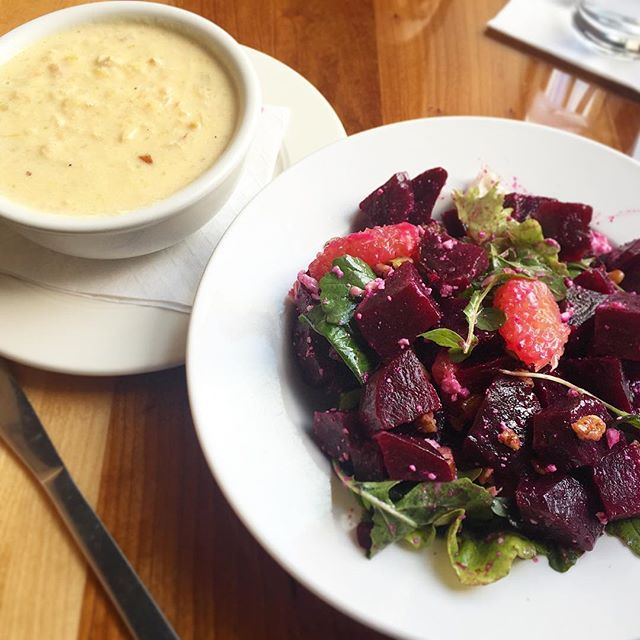 what's nicer than a salad and soup for lunch? beets me. 😉