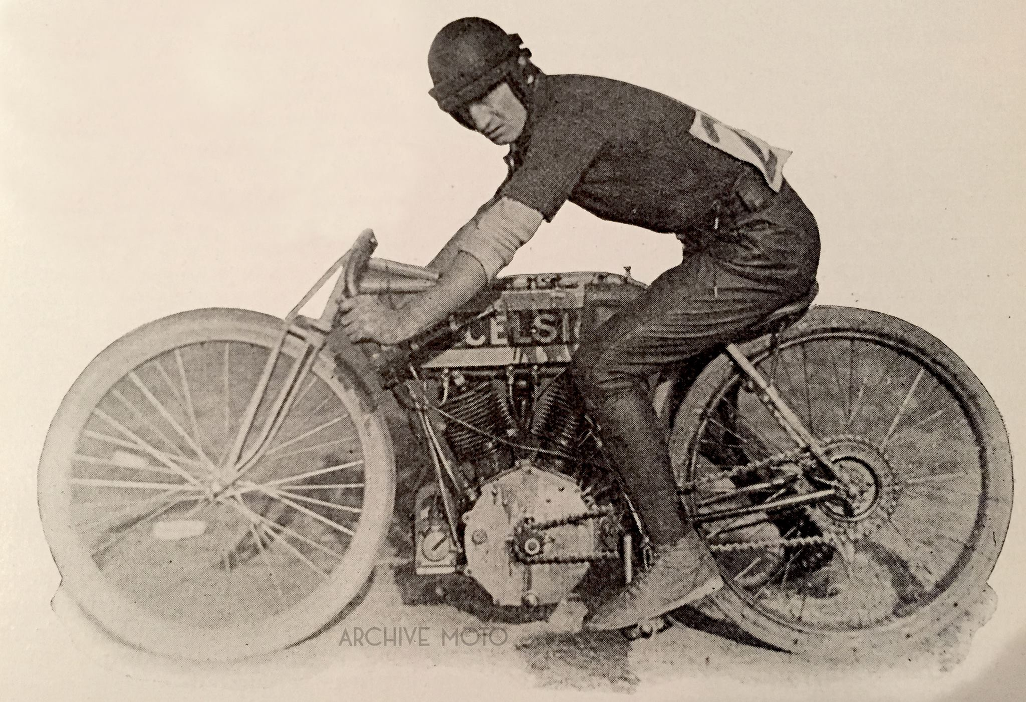 """Pictured is Jacob DeRosier, the world's fastest motorcycle racer shortly after his turbulent run down south onboard his Excelsior """"7"""" at a race in Guttenberg, NJ on October 29, 1911."""