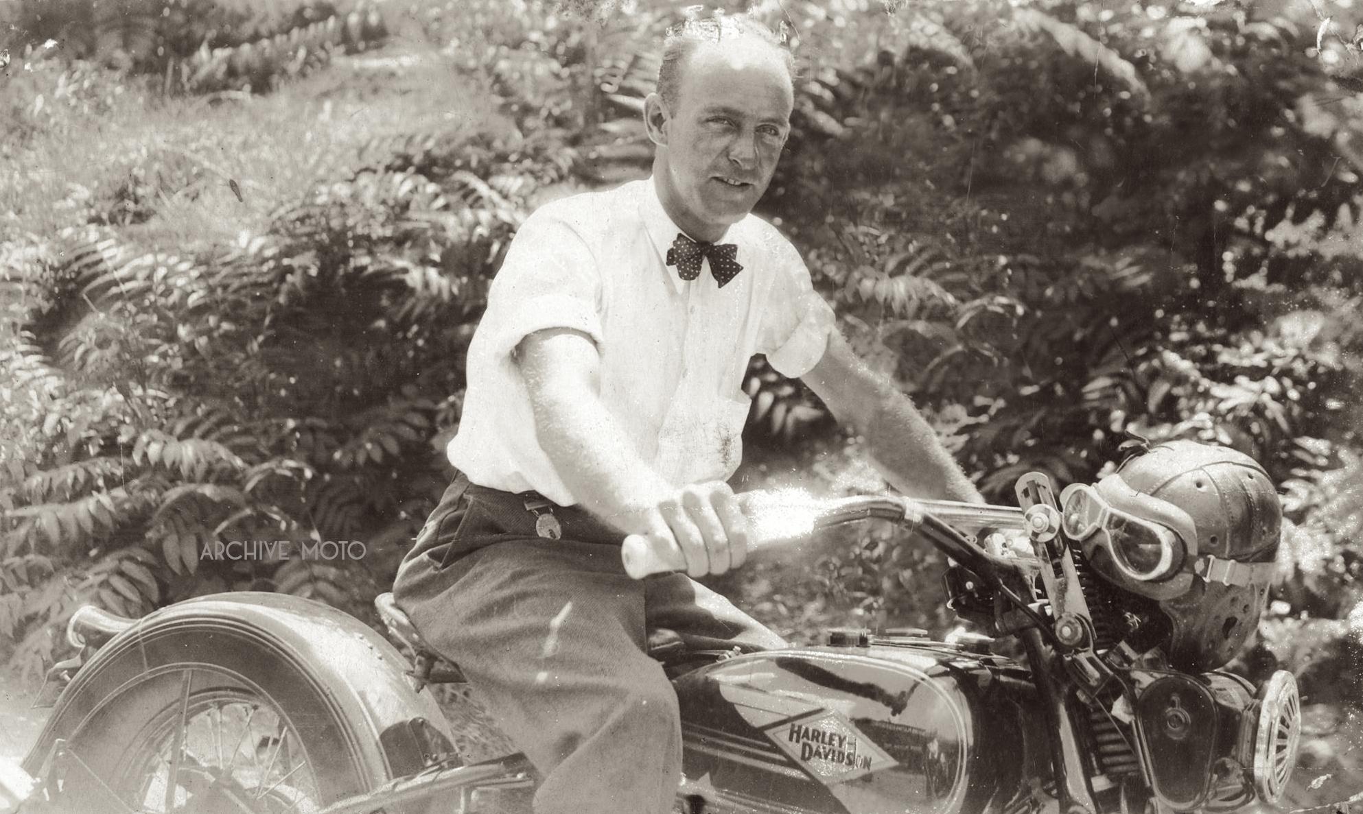 Bert Baisden, winner of the 1933 Savannah 200 Mile Championship Road Race, onboard his Harley-Davidson RL ca. 1934.